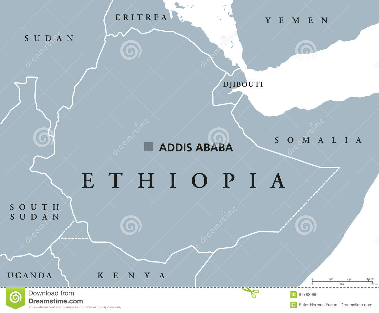 Ethiopia political map stock vector. Illustration of abyssinia ...