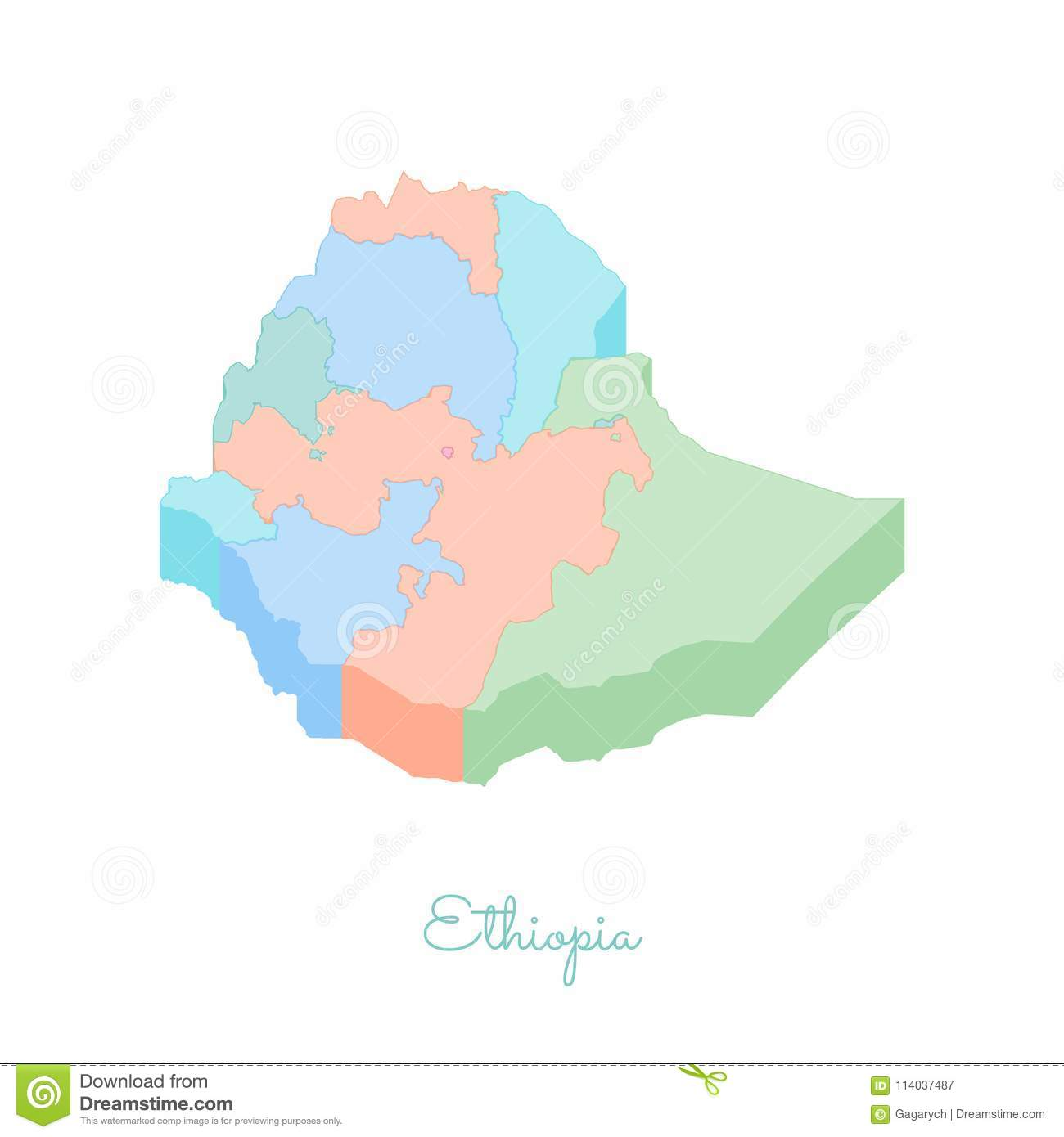 Ethiopia Region Map: Colorful Isometric Top View  Stock