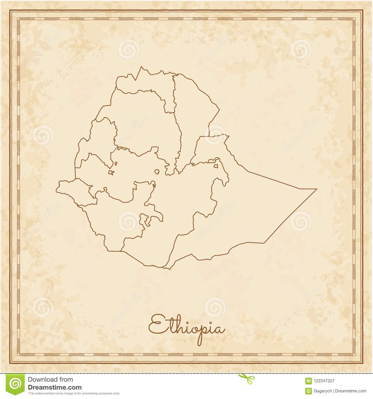 Ethiopia Region Map: Stilyzed Old Pirate  Stock Vector