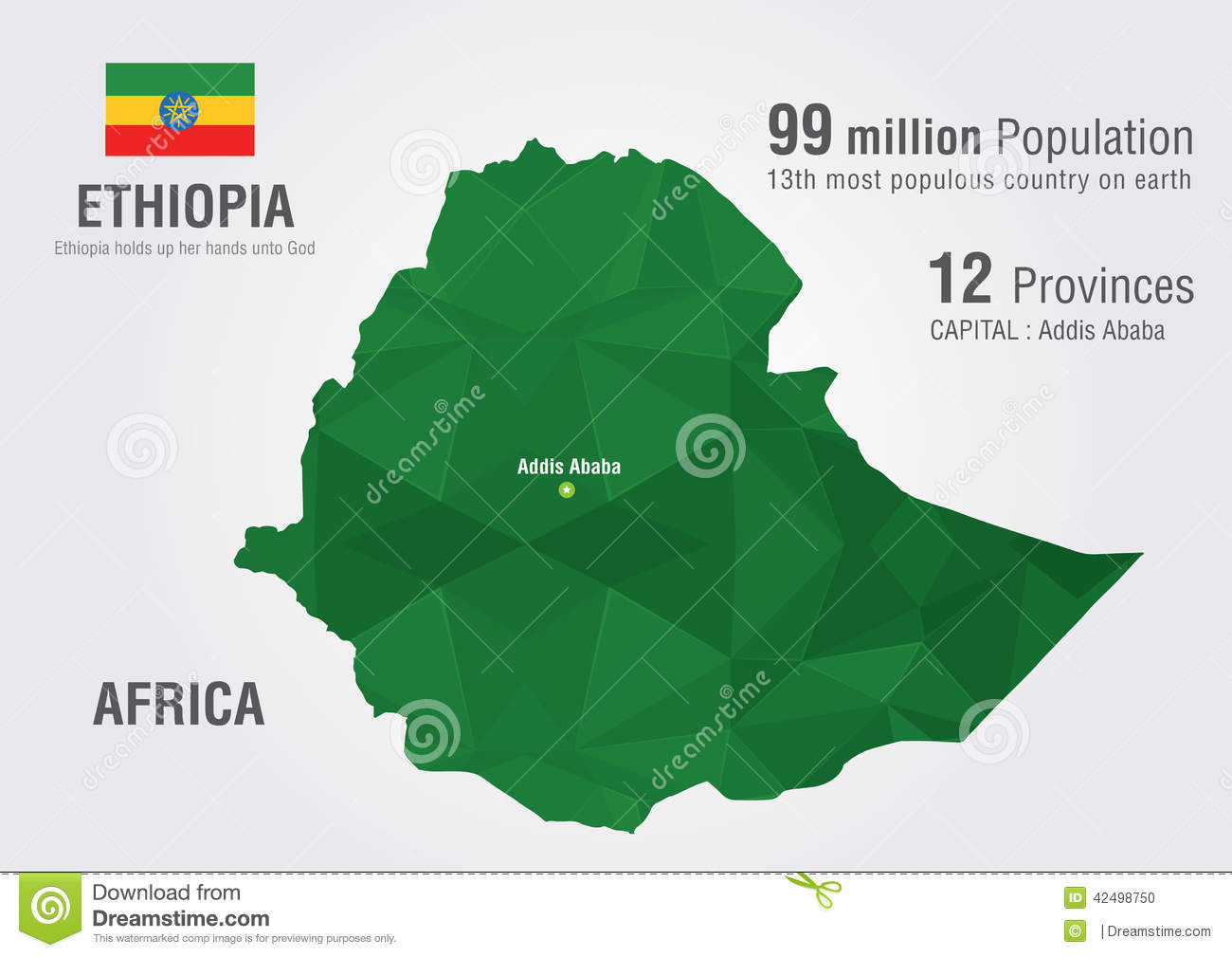 Ethiopia World Map With A Pixel Diamond Texture. Stock Vector ...