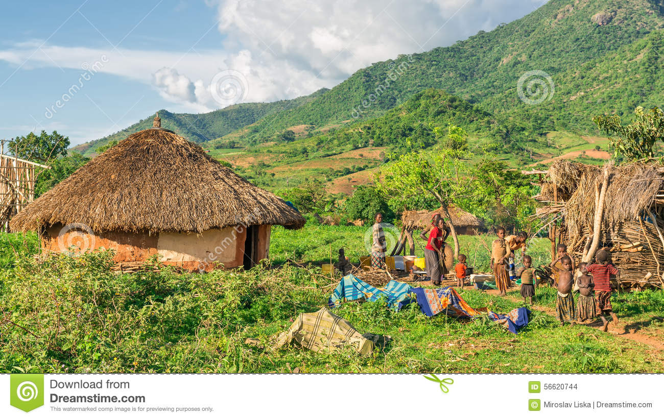 Ethiopian family preparing dinner in the southern part of Ethiop