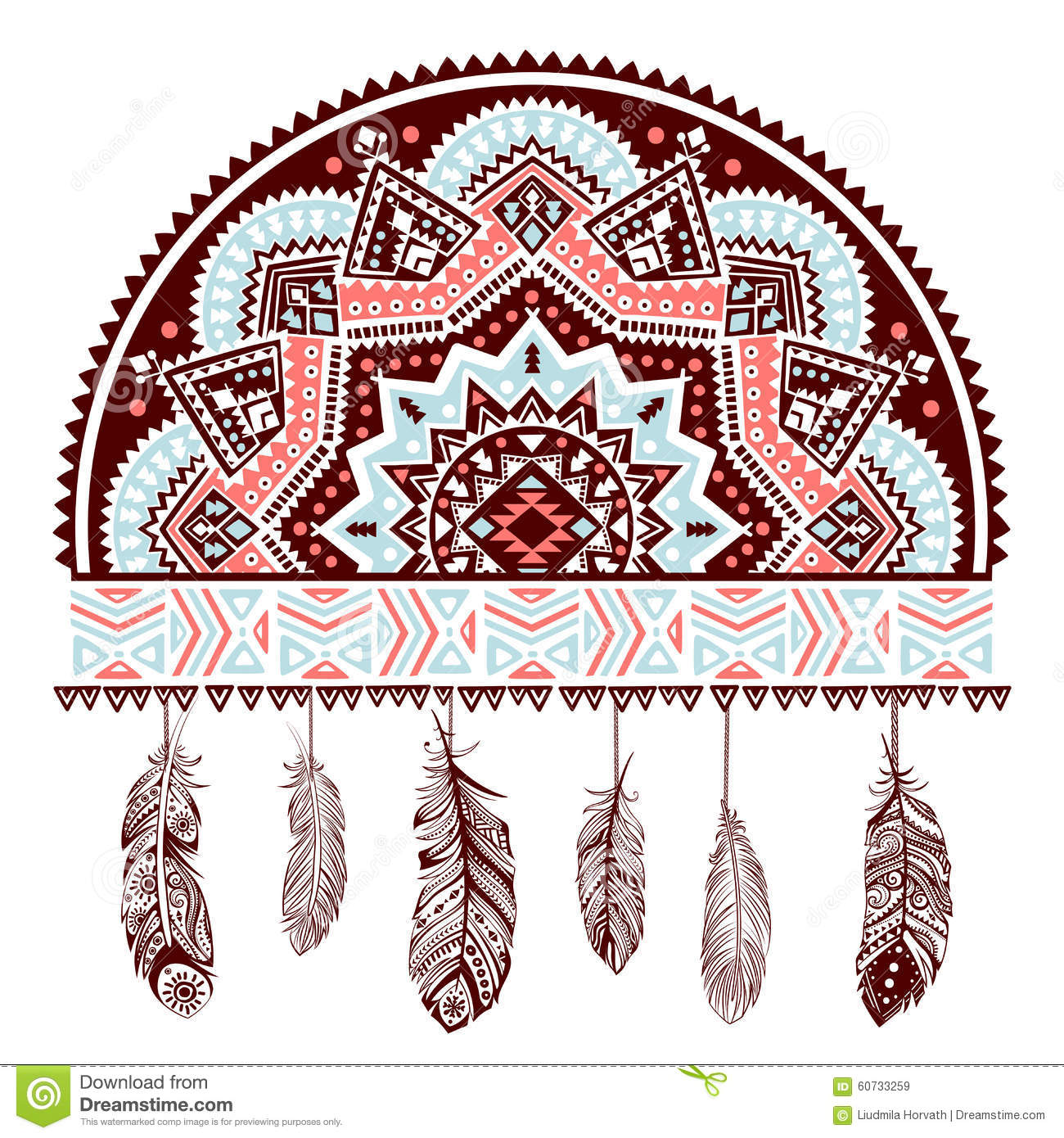 Ethnic American Indian Dream Catcher Stock Vector Illustration Of