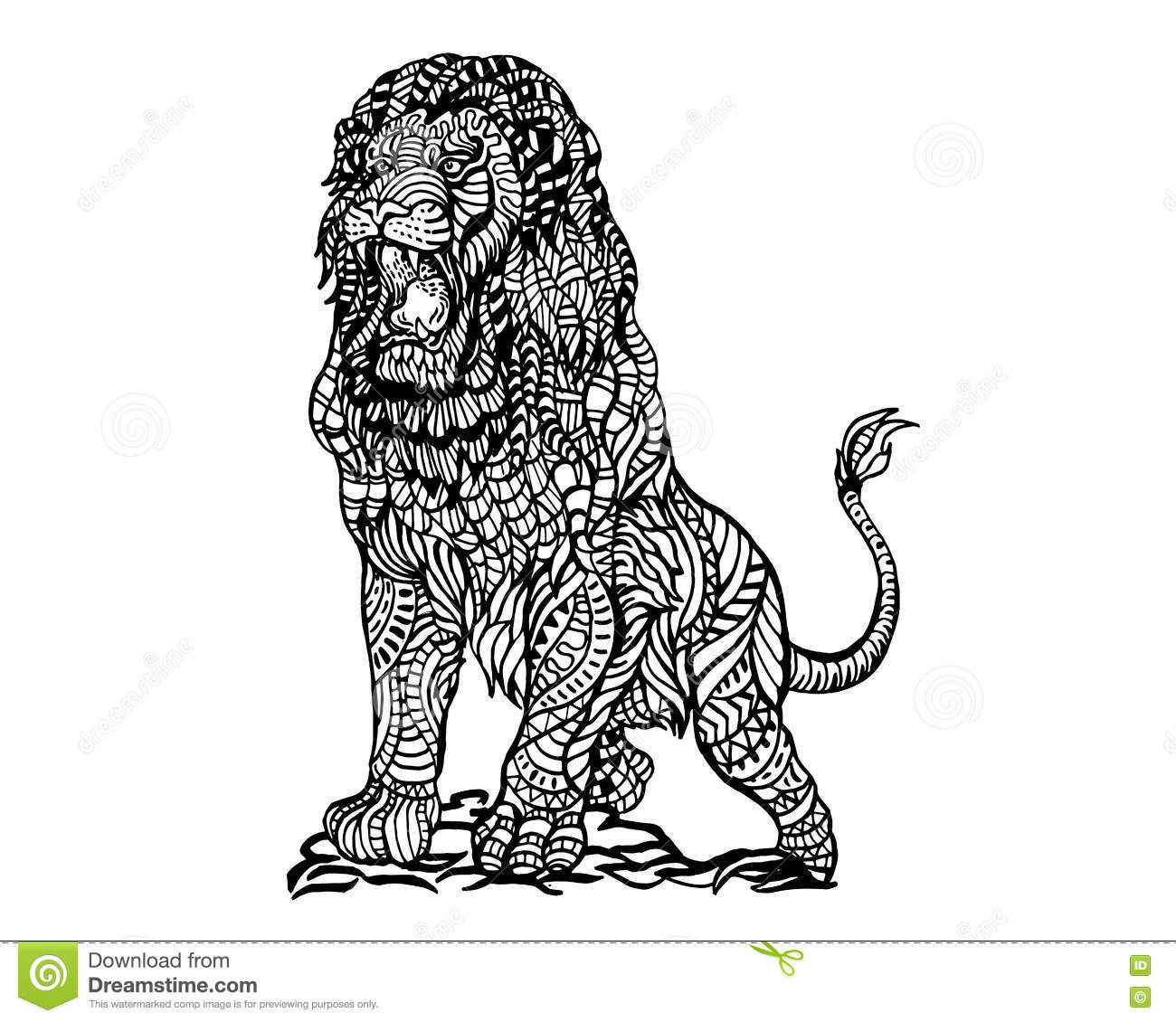 Zen colouring book animals - Ethnic Animal Doodle Detail Pattern Angry Lion Zentangle Illustration Stock Image Download Image Zen Colouring
