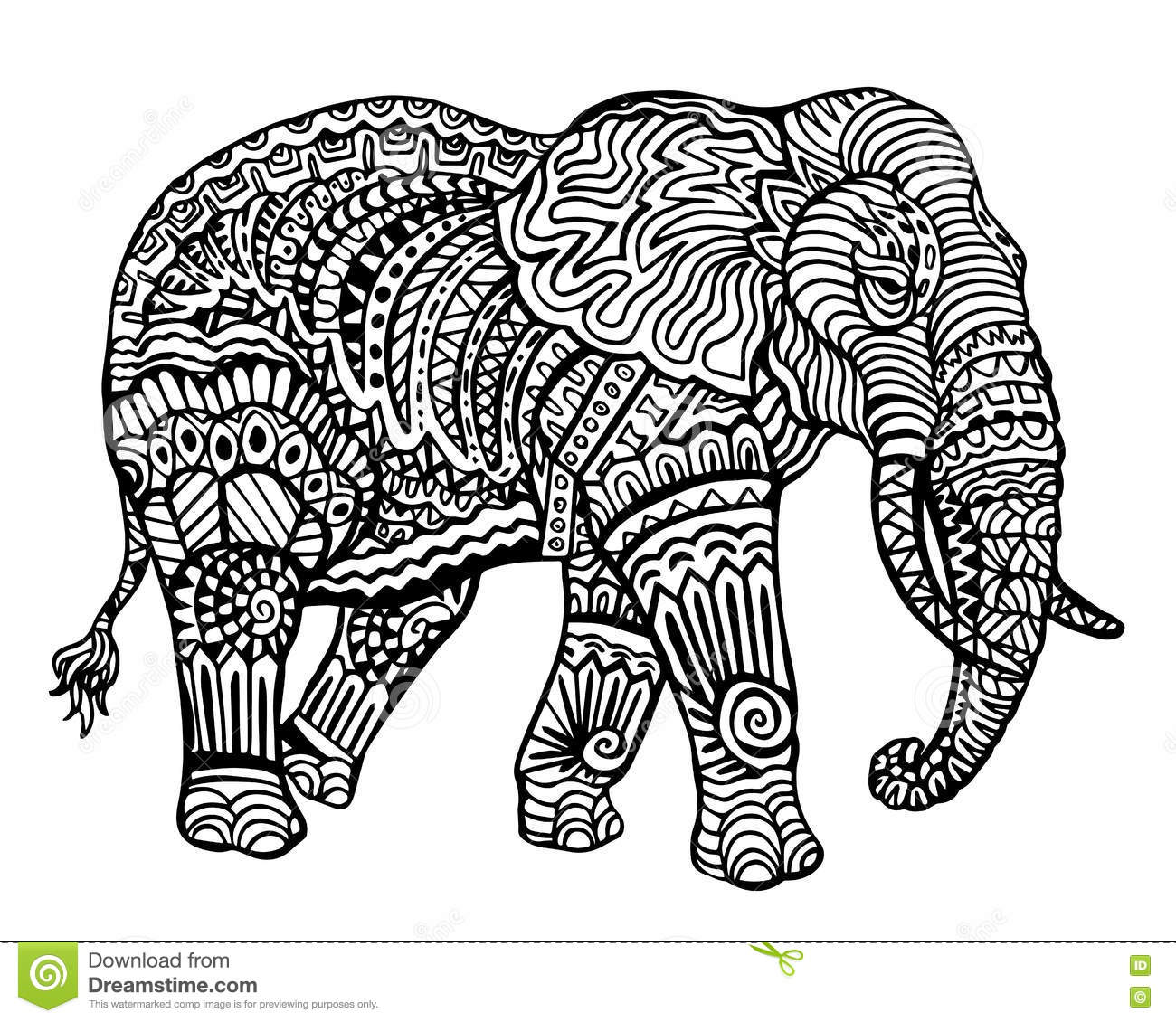 Ethnic Animal Doodle Detail Pattern - Elephant Zentangle Illustratio ...