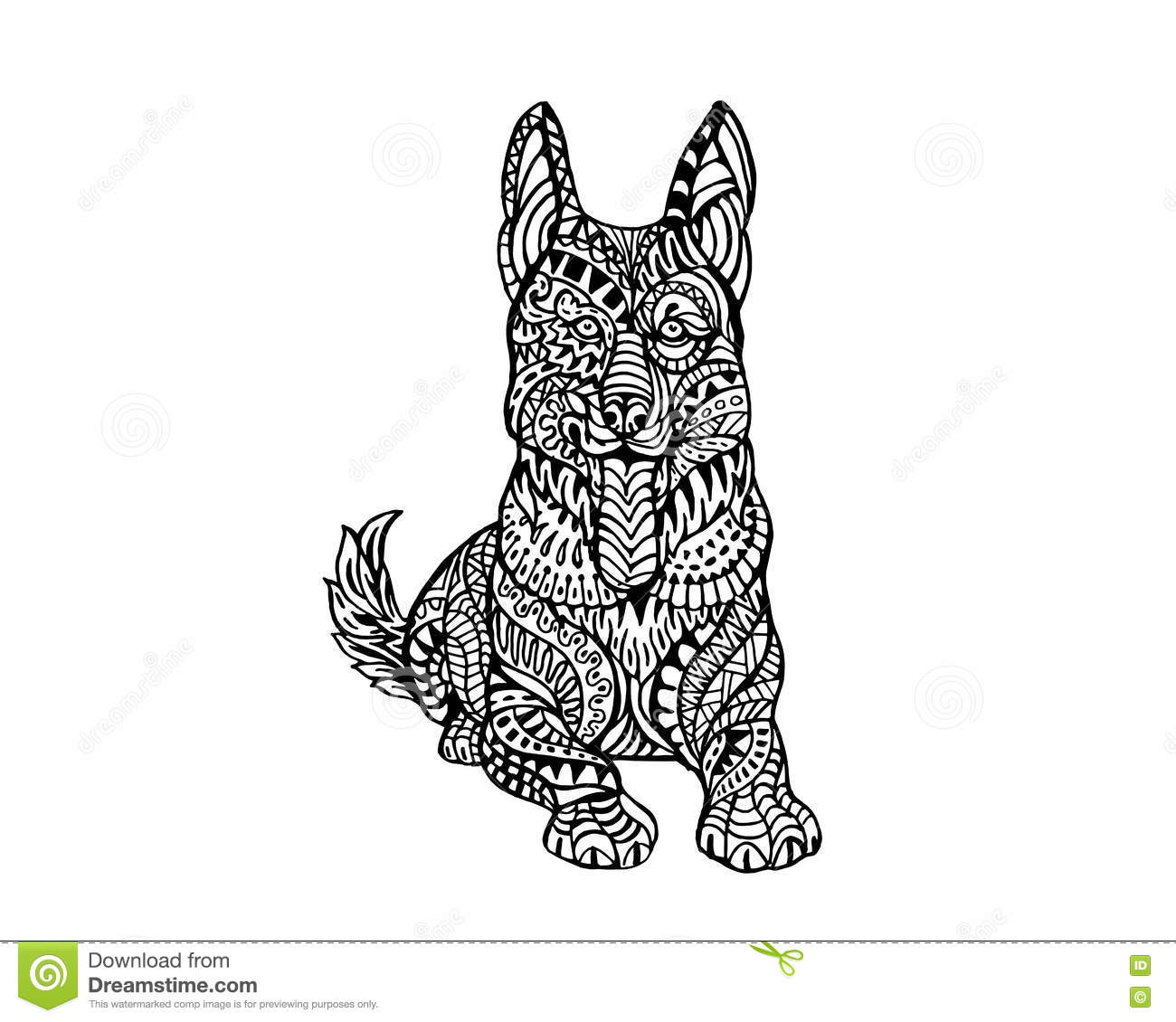 Stock vector ethnic animal doodle detail pattern killer whale - Ethnic Animal Doodle Detail Pattern German Sheppard Dog Zentangle Illustration Stock Vector