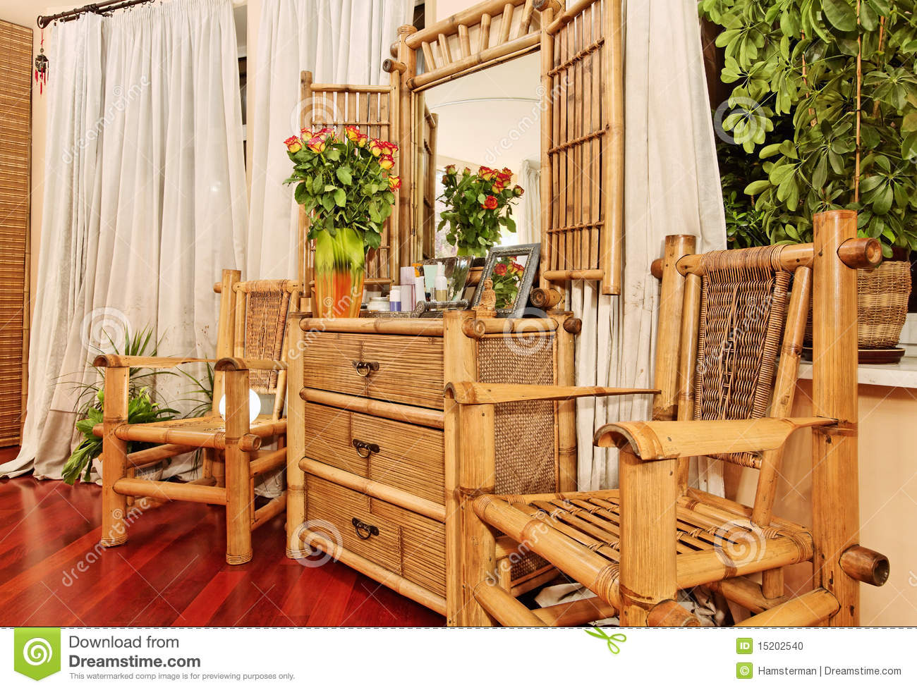 Ethnic bamboo furniture stock photo image of chest flower 15202540 - Mobili in bambu ...