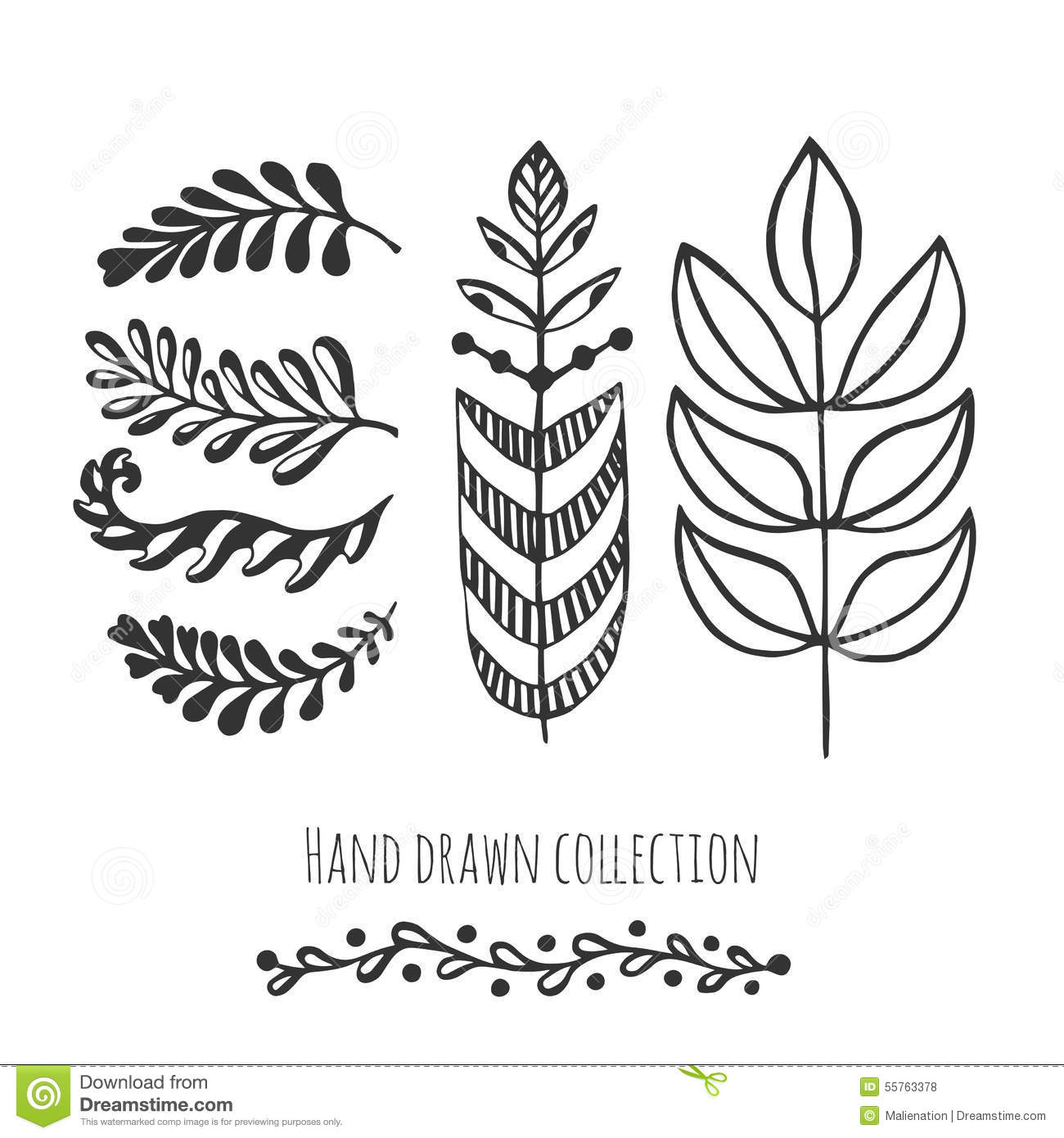 ethnic collection with stylized doodle leaves template for