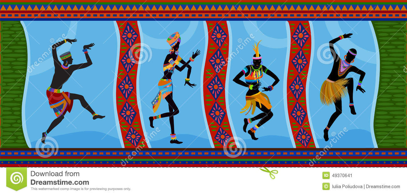 Ethnic Dance African People Stock Illustration