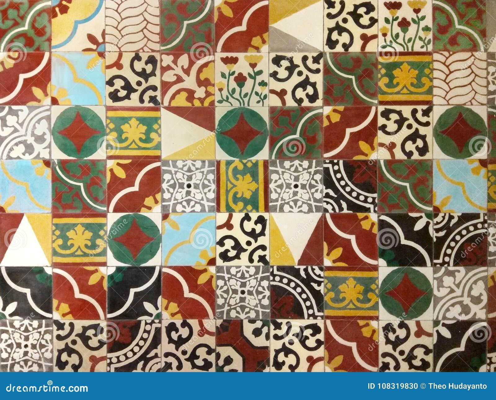 Ethnic decor tiles wall stock photo. image of traditional 108319830