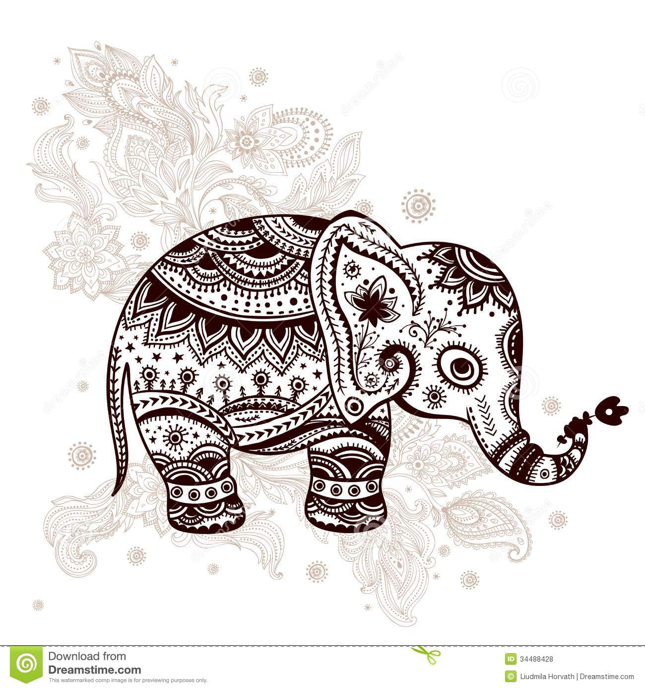 Ethnic elephant illustration can be used as a greeting card Vintage Elephant Illustration