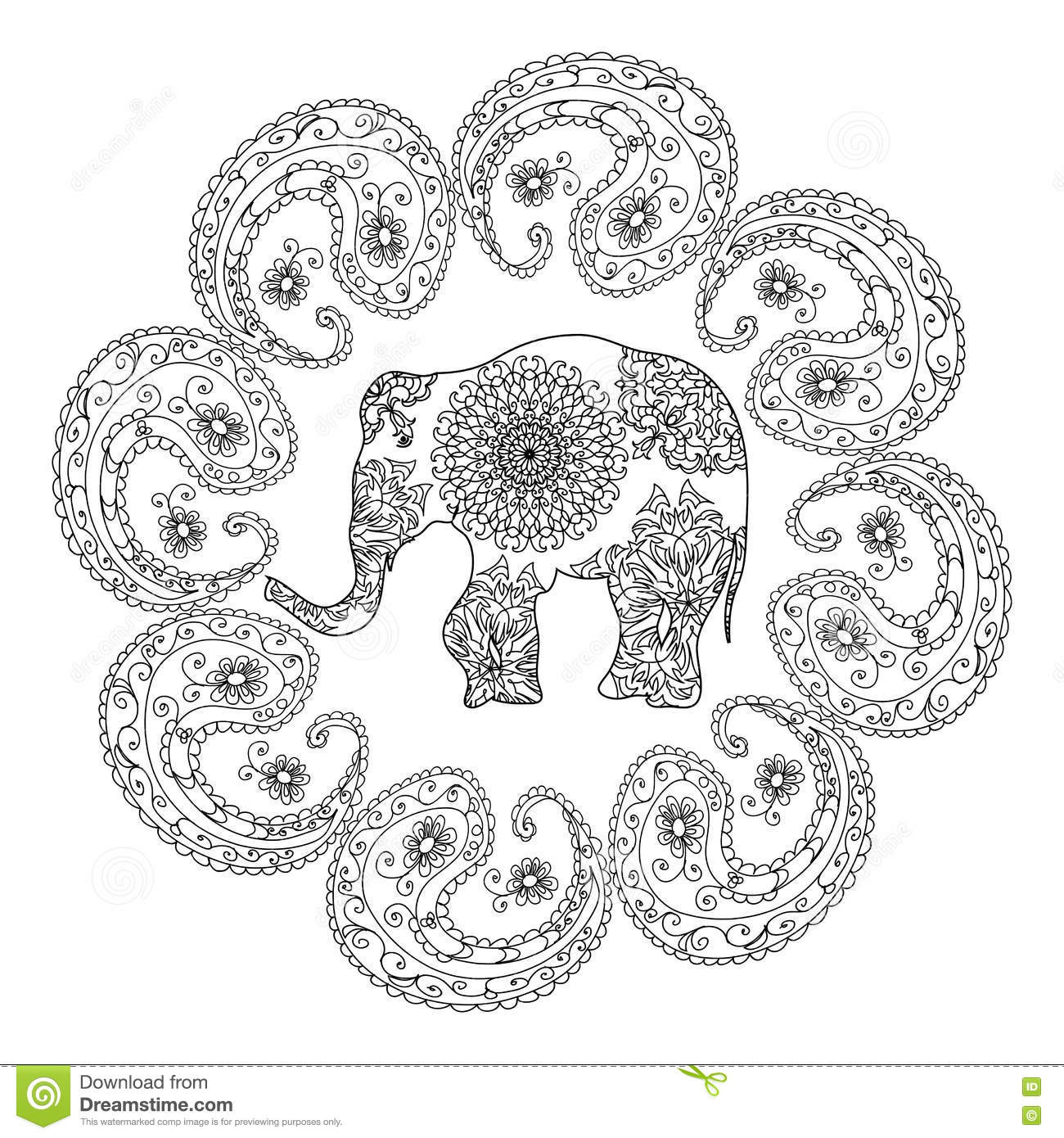 Ethnic Elephants Pattern Adult Coloring Page Stock Illustration ...