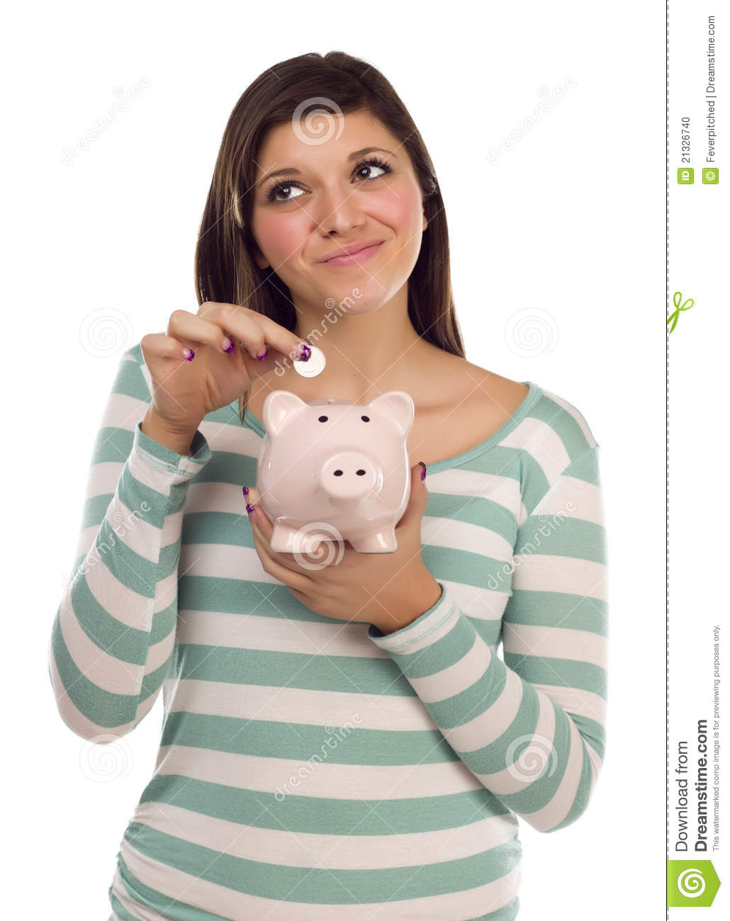 Ethnic Female Putting Coin Into Piggy Bank