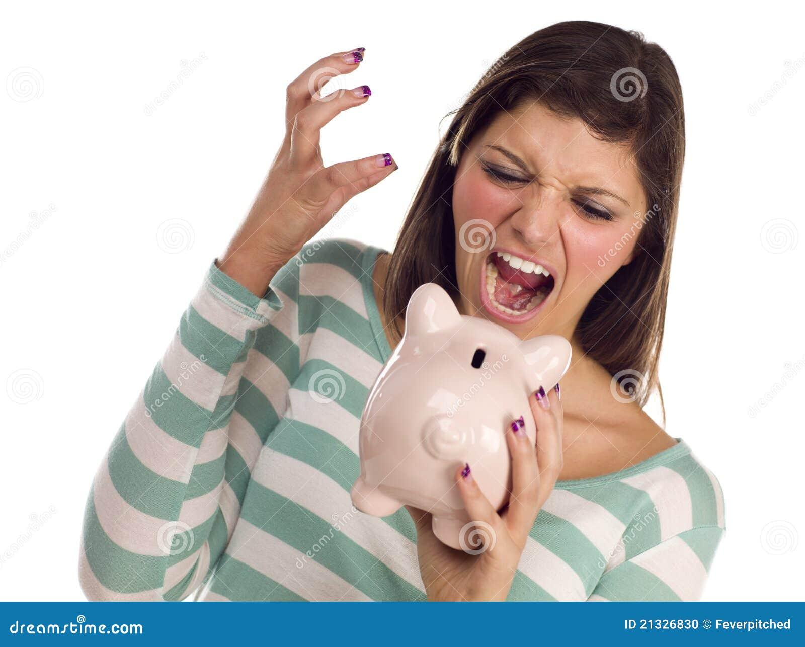 Ethnic Female Yelling At Piggy Bank on White