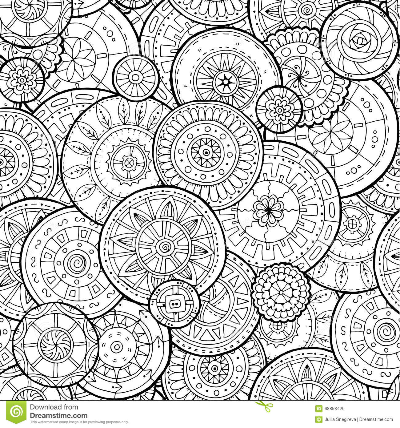 Ethnic Floral Mandalas Doodle Background Circles In