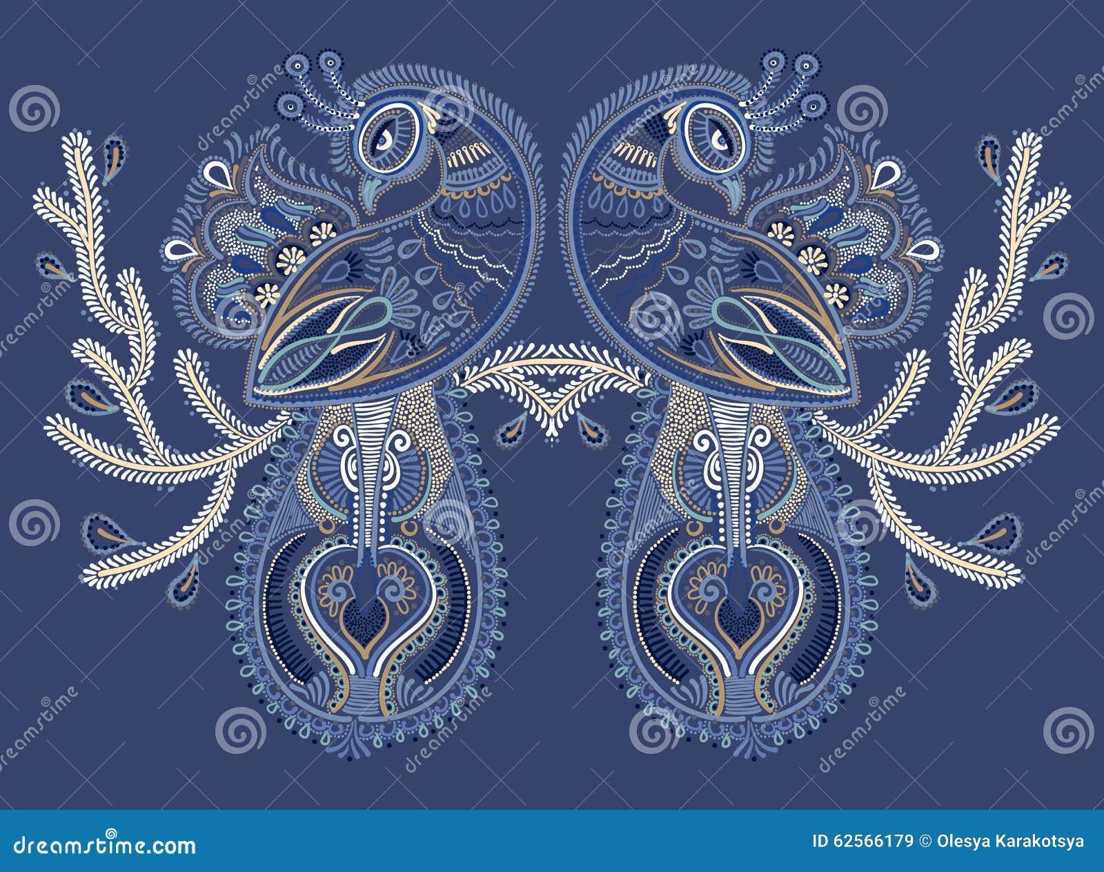 Ethnic Folk Art Of Two Peacock Bird With Flowering Stock