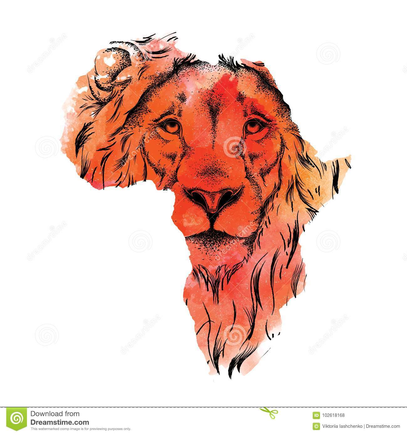 Map Of Africa Drawing.Ethnic Hand Drawing Head Of Lion In The Vector Map Of Africa Vector