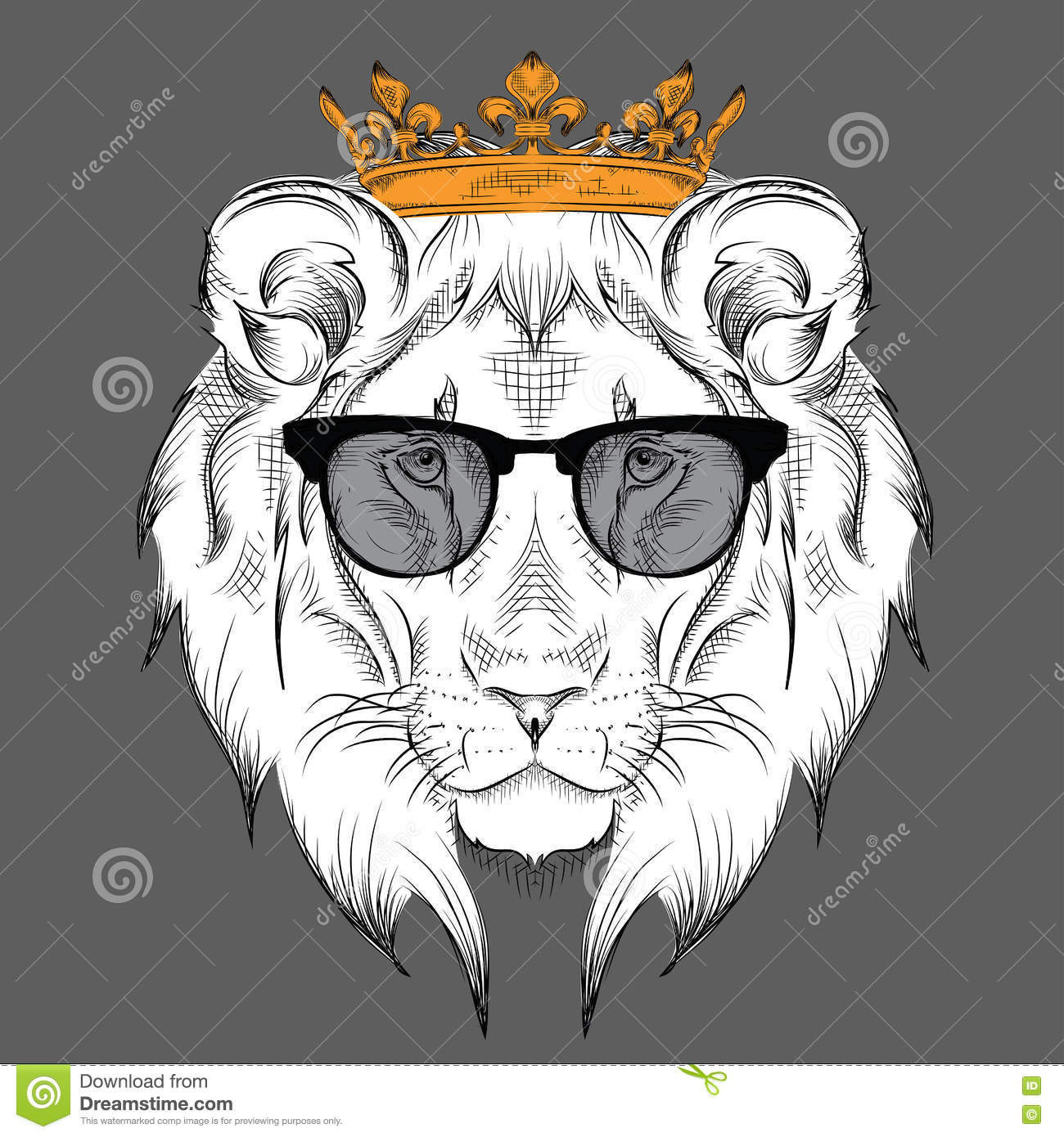 Ethnic Hand Drawing Head Of Lion Wearing A Crown And In The Glasses