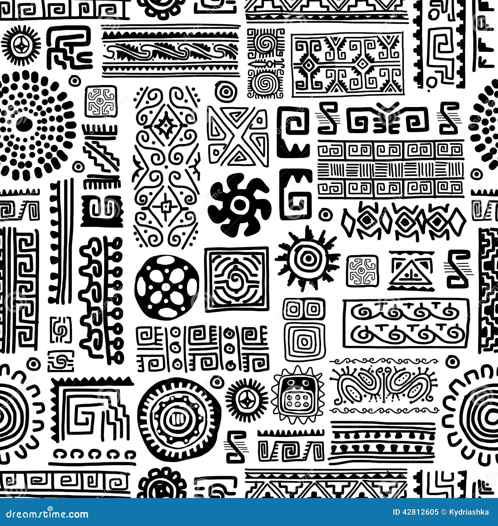 Ethnic handmade ornament, seamless pattern for