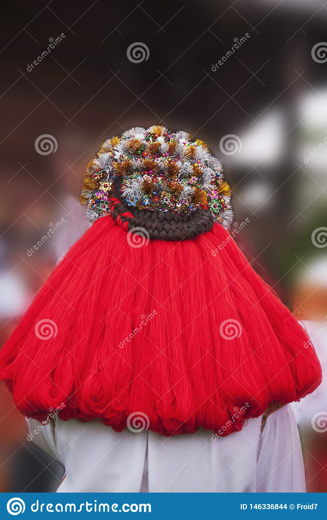 Ethnic headdress. Wedding wreath. Traditions of the mountain region