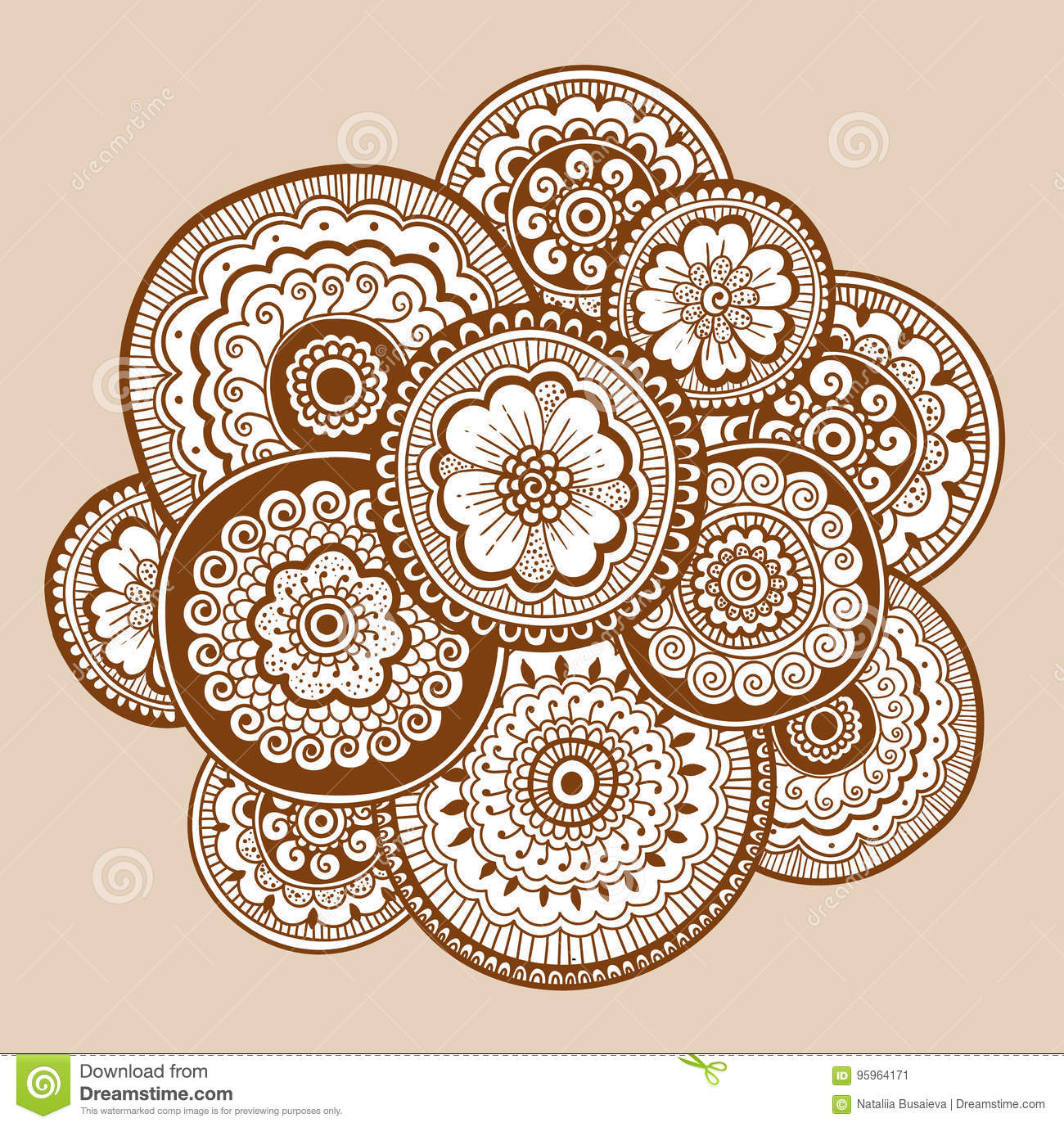 Ethnic Henna Mehndi Ornament  Indian Style  Beautiful Doodle Art