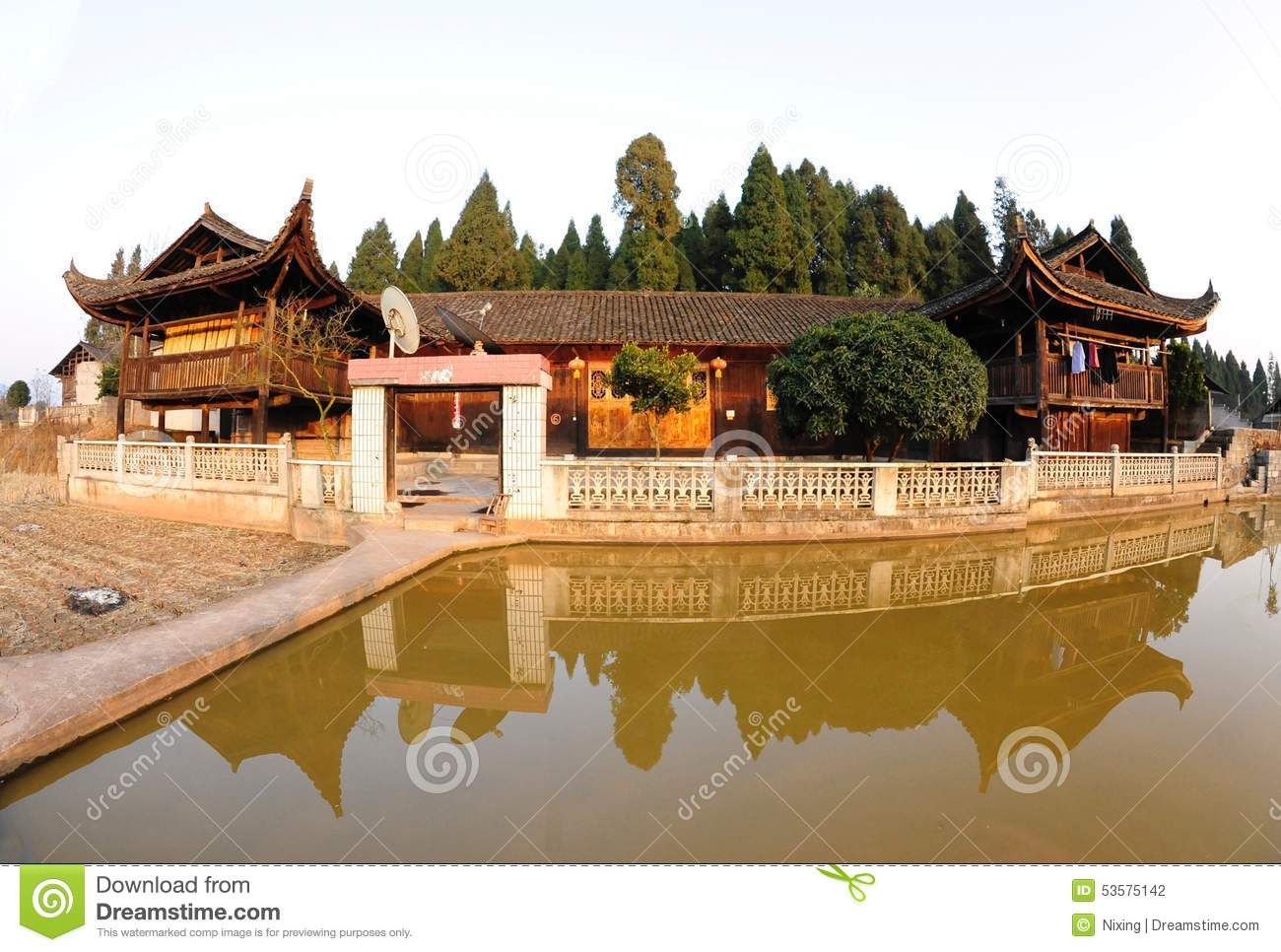 Ethnic Houses : Ethnic houses of TuJia in west Hunan province, China. .