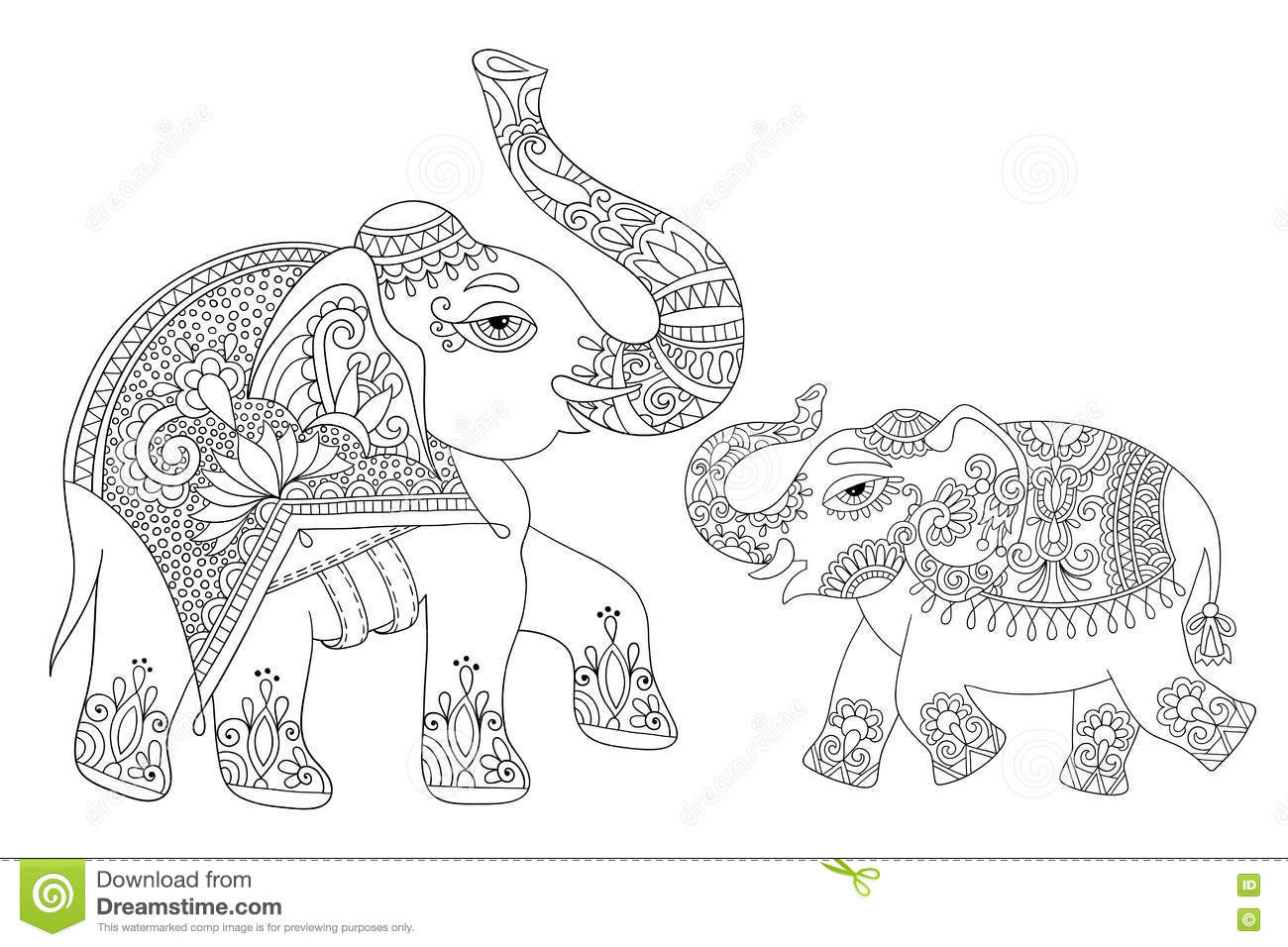 ethnic coloring pages | Ethnic Indian Elephant Line Original Drawing, Adults ...