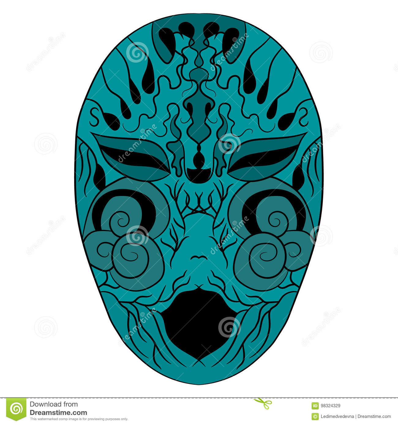 The ethnic mask is a terrible face. vector illustration. Drawing by hand.