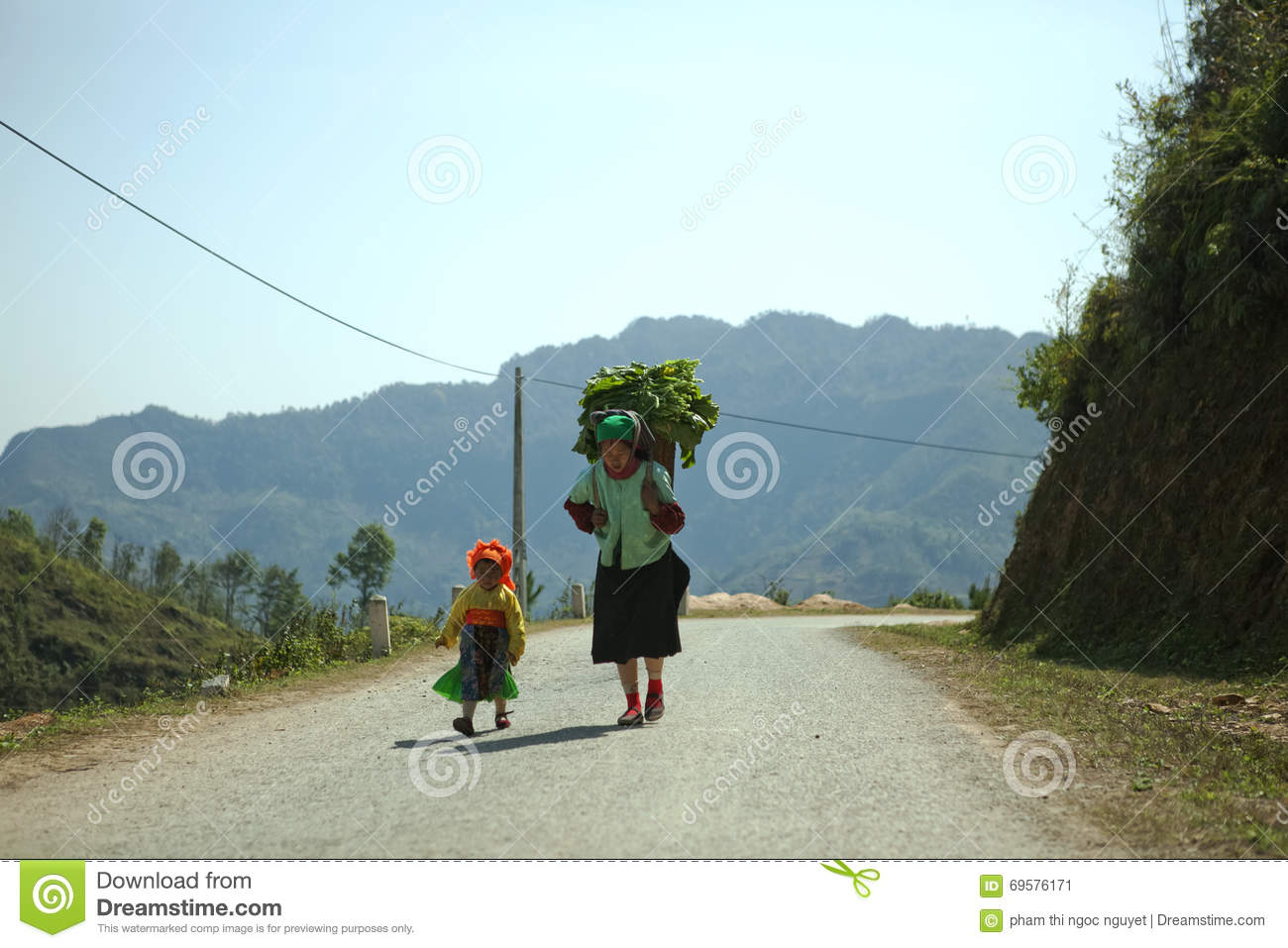 Ethnic minority mom and daughter