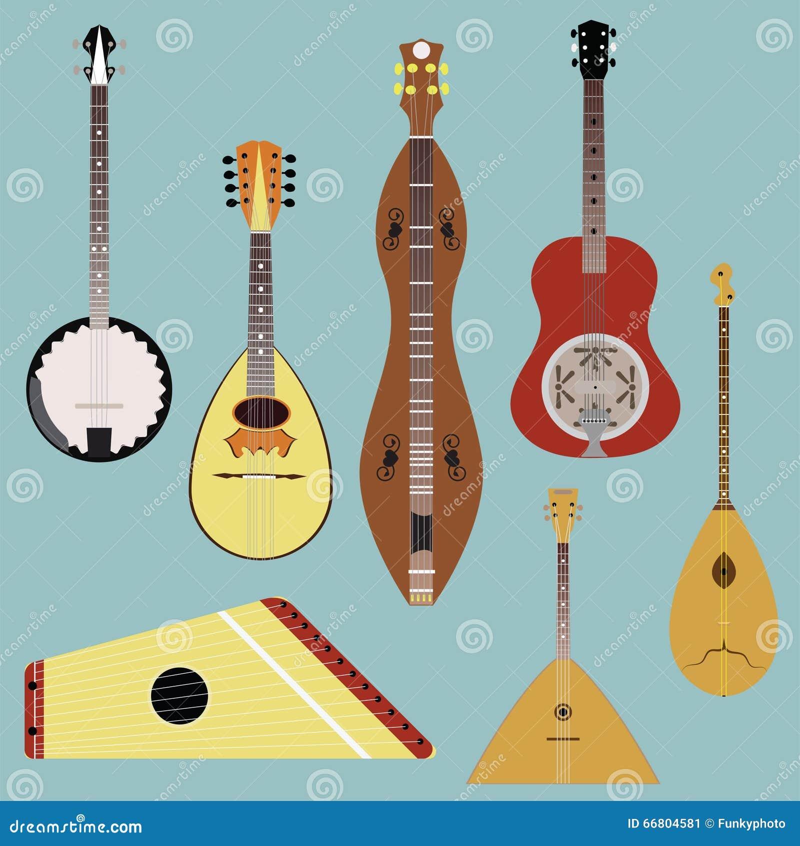 Music: Russian Folk Music Instruments Vector Illustration