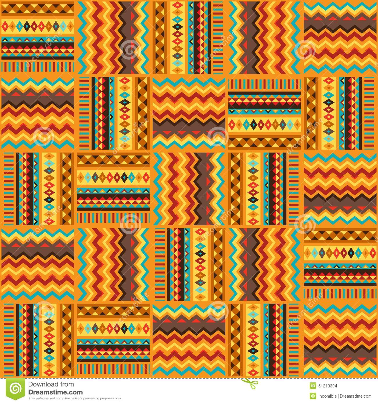 Ethnic ornament abstract geometric seamless fabric