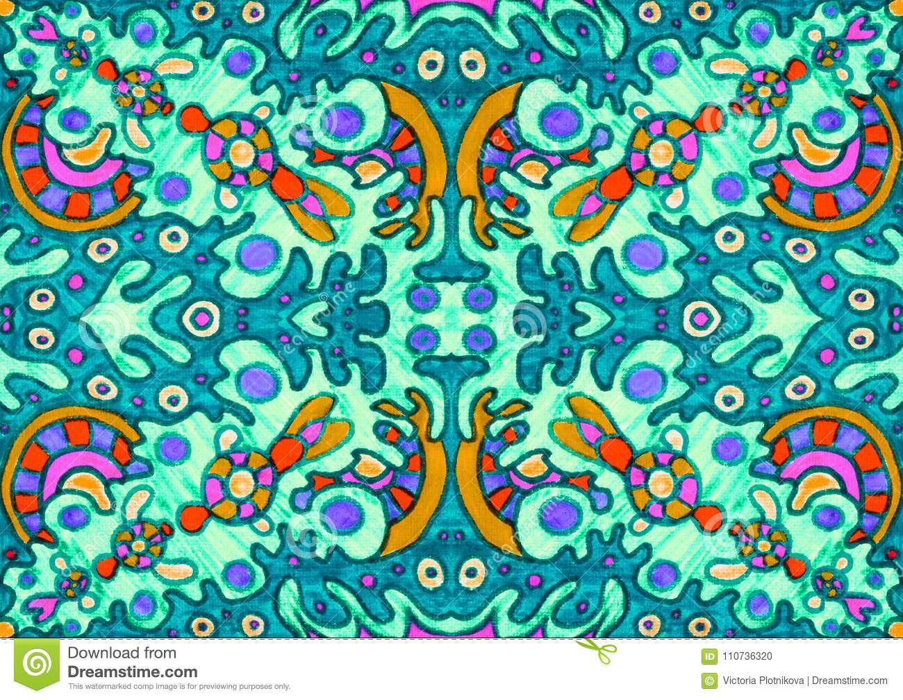 Ethnic ornament seamless pattern inspired by fusion of Ukrainian, Indian and Mexican traditional motifs