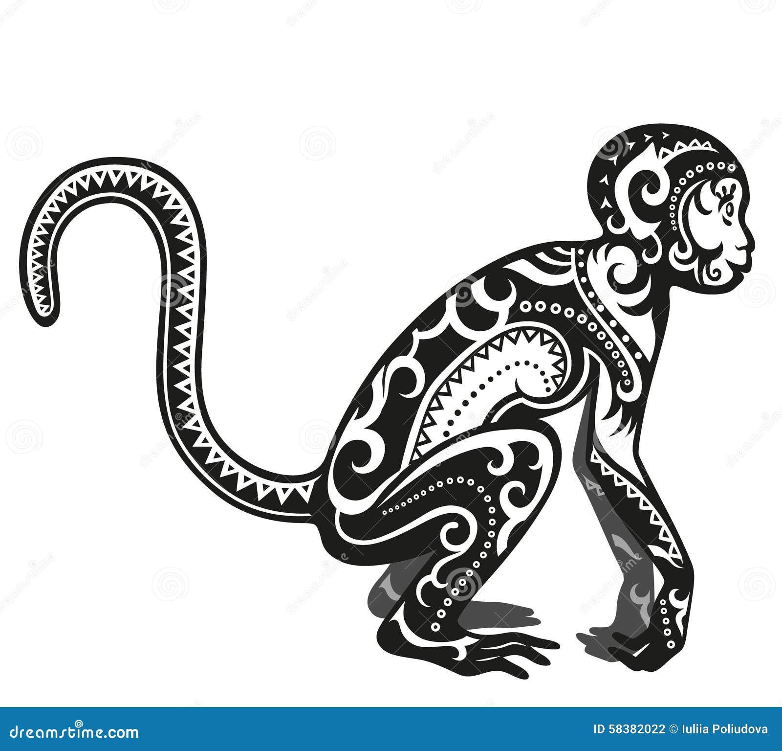 ethnic ornamented monkey stock illustration