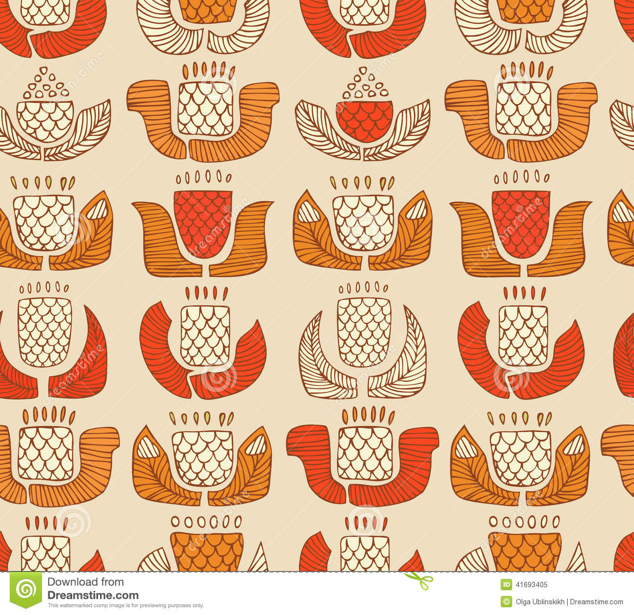 Ethnic pattern with decorative flowers, buds and leaves. Endless background with ornamental native elements