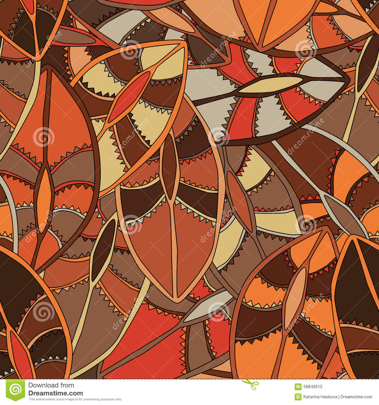 Ethnic Pattern In Earth Colours With The Motifs Of A Dance