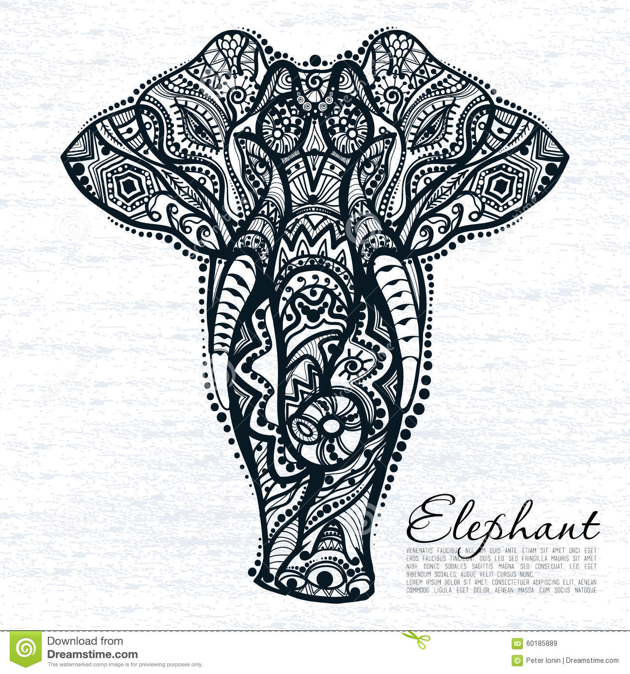 Free ornamental mandala vector download free vector art stock - Ethnic Pattern Of Elephant Stock Vector Image 60185889