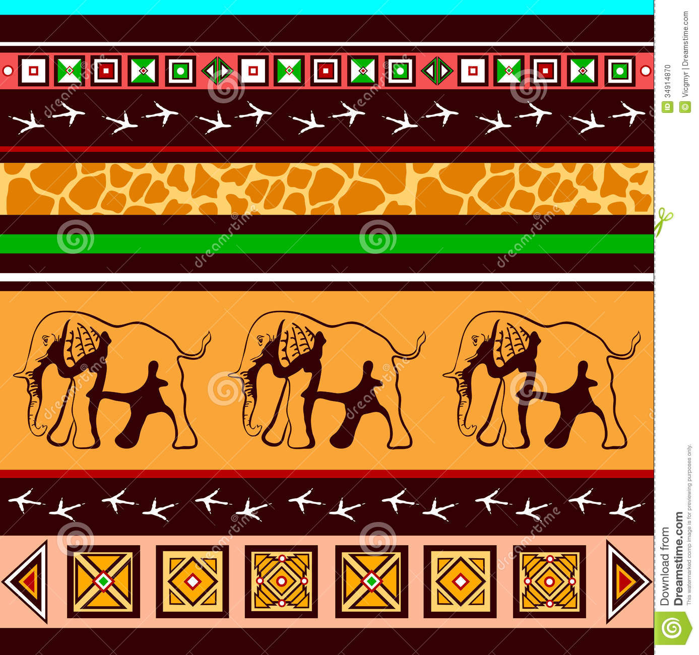 ethnic pattern with elephants stock vector image 34914870