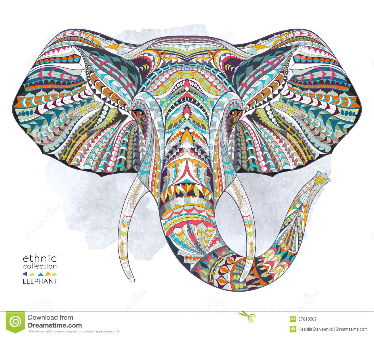 ethnic patterned head of elephant stock vector image indian elephant face clipart decorated indian elephant clipart