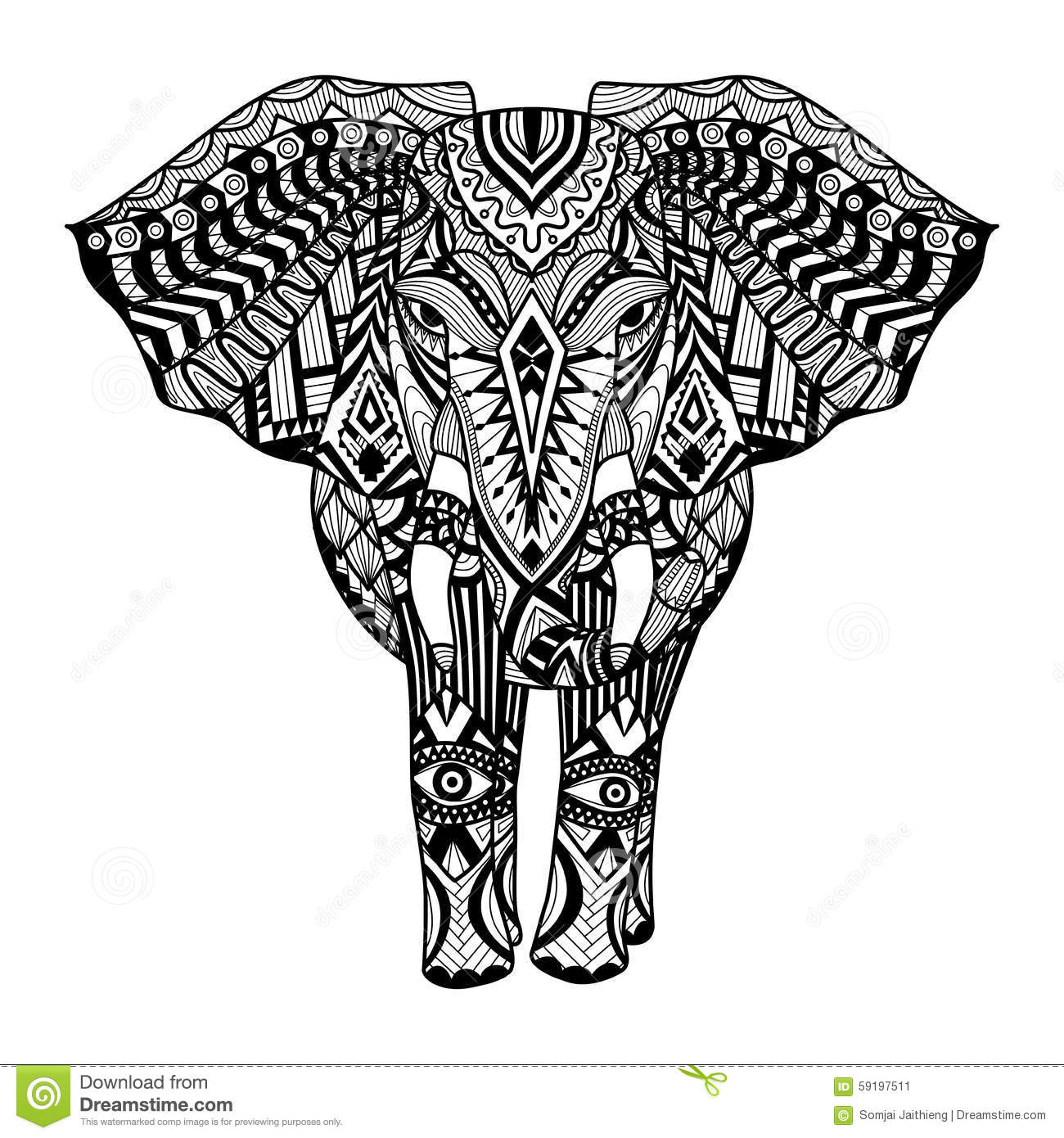 ethnic patterned head of elephant stock vector illustration of