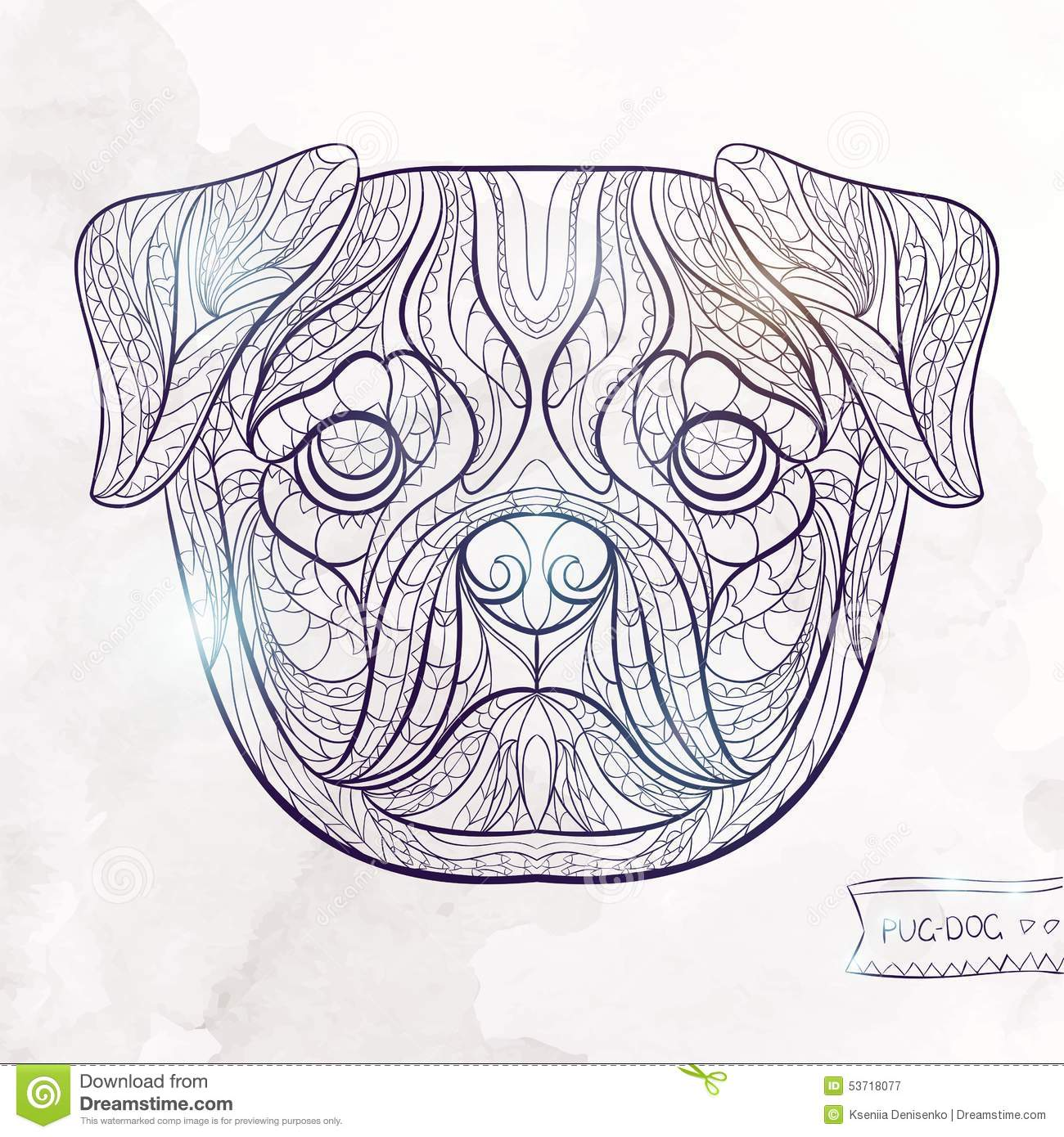 Ethnic Patterned Head Of Pug Dog Stock Vector