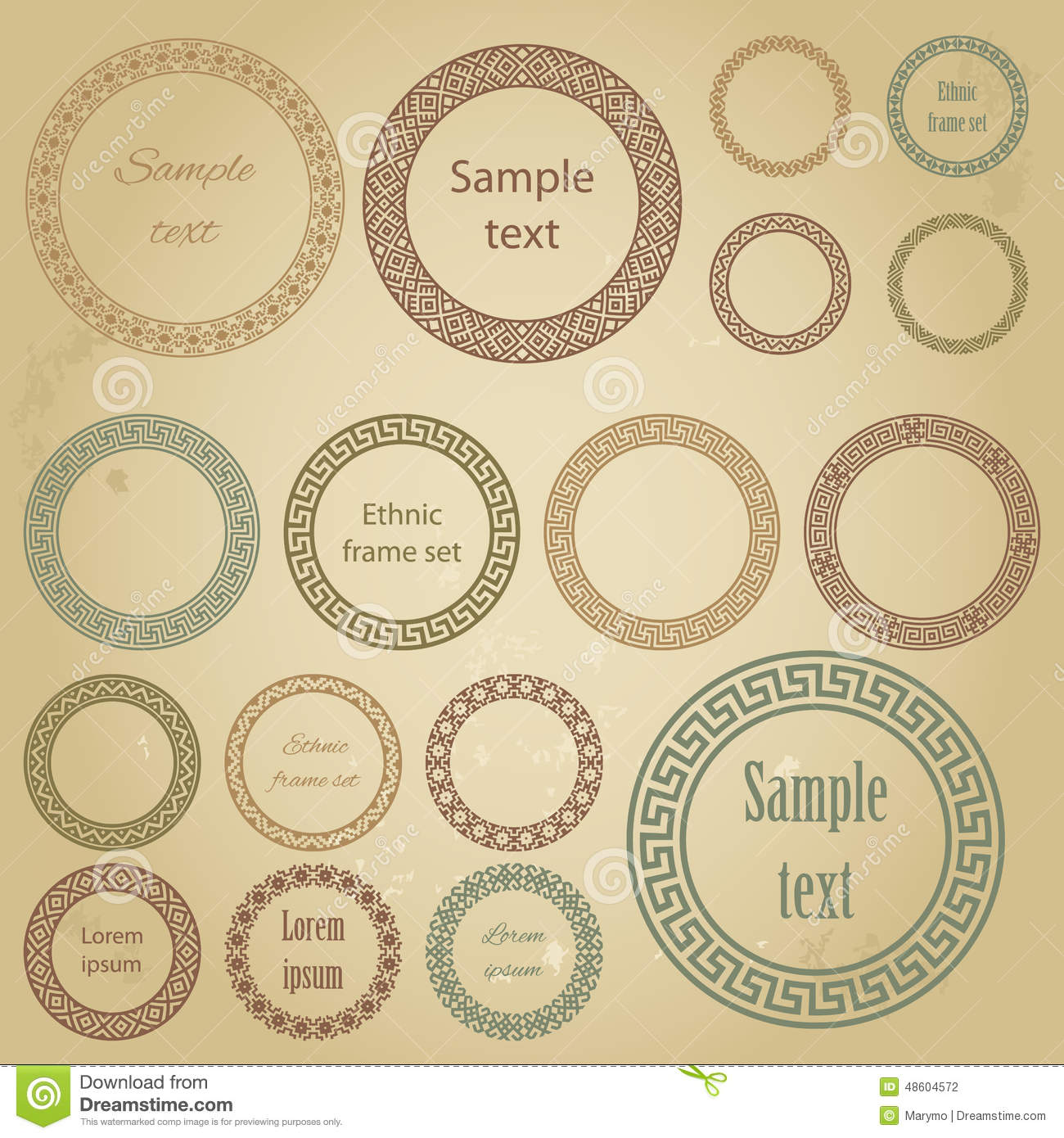 Ethnic round frames of different size with sample text stock ethnic round frames of different size with sample text jeuxipadfo Choice Image