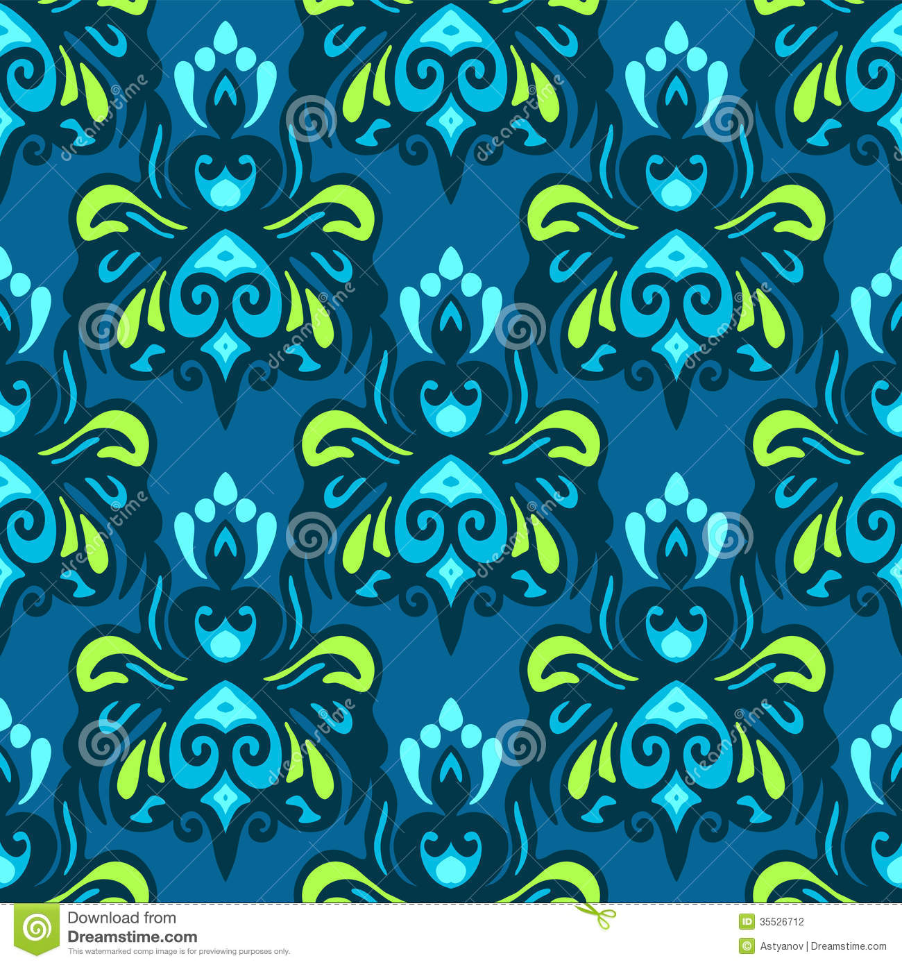 Blue Tribal Wallpapers: Ethnic Seamless Damask Gift Wrap Stock Photography