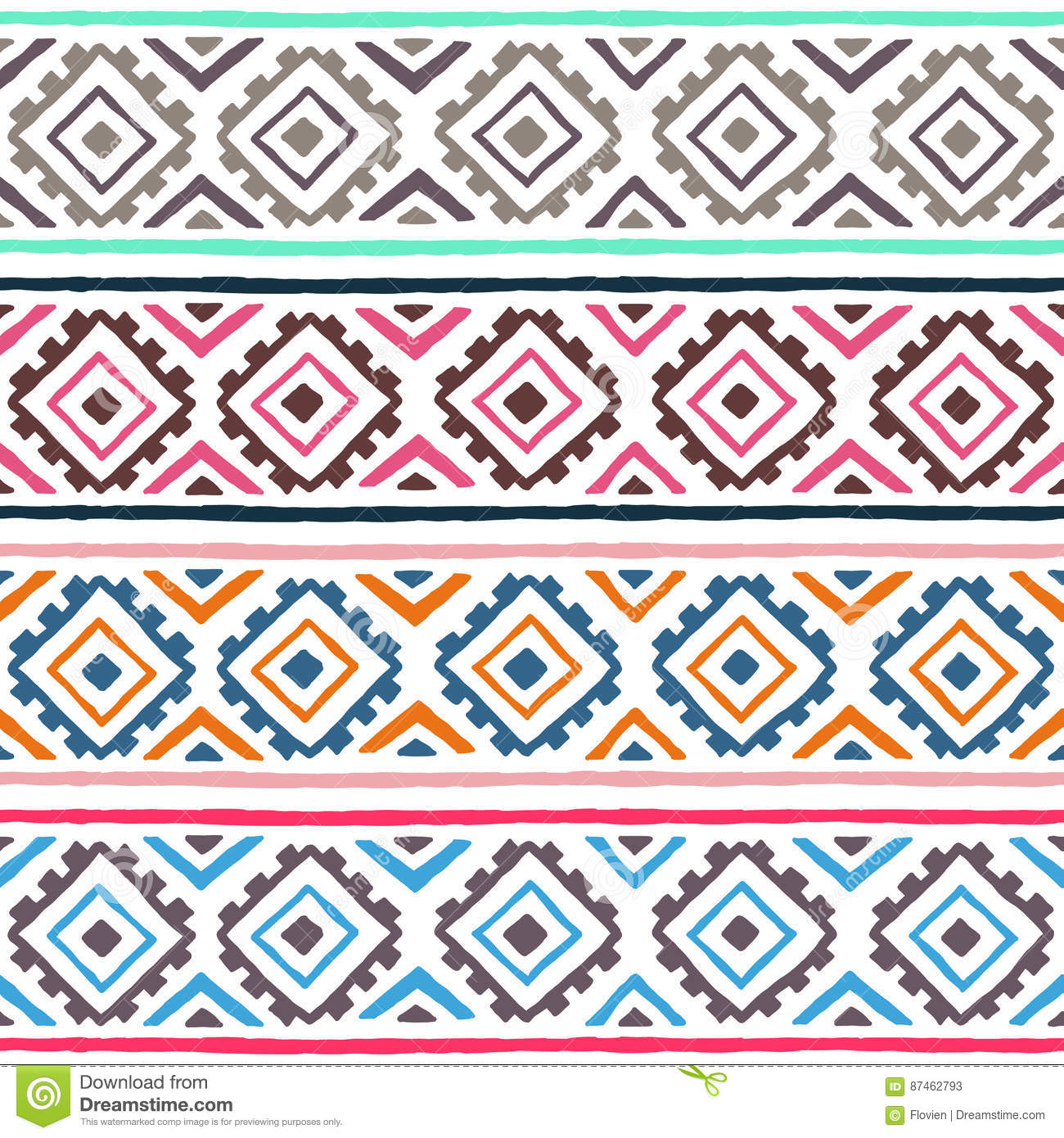 Ethnic seamless pattern. Geometric ornament. Tribal motifs. Summer striped print for your textiles.