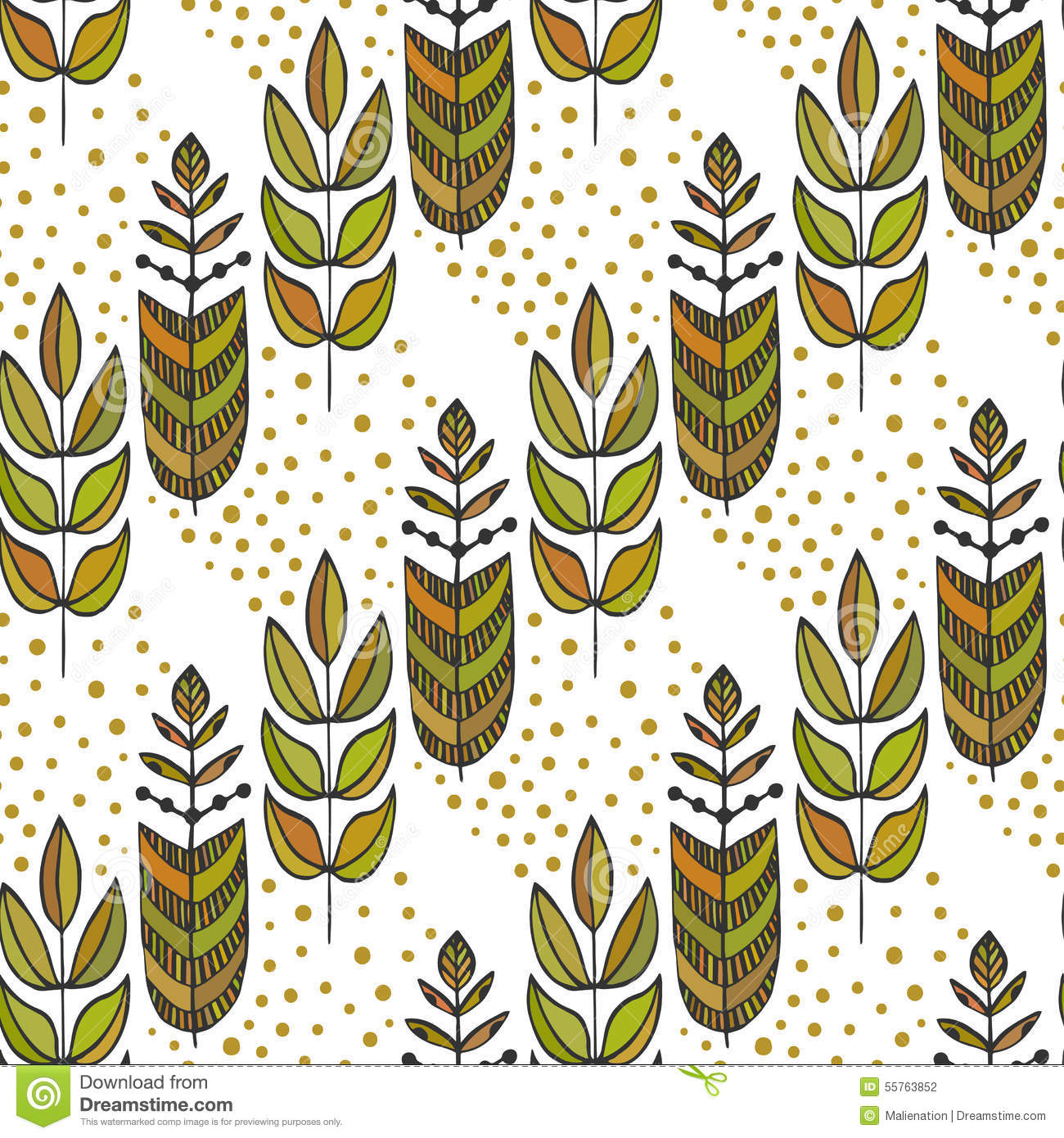 Fabric tree pattern - Ethnic Seamless Pattern With Ornamental Colorful Stylized Leaves Tree Endless Texture Template For Fabric