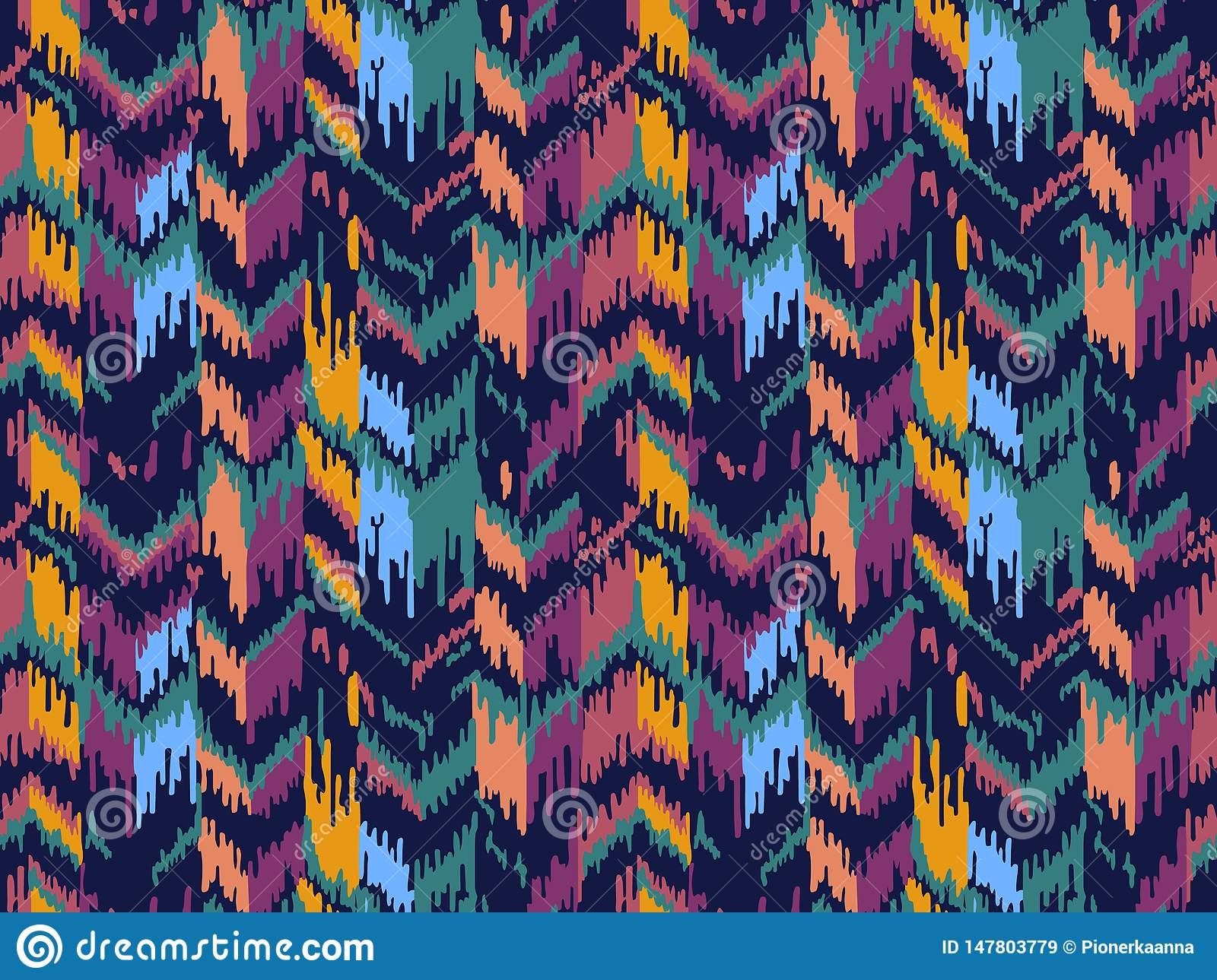 Ethnic seamless pattern. Tribal ethnic vector texture. Striped pattern in Aztec style. Ikat geometric folklore ornament.