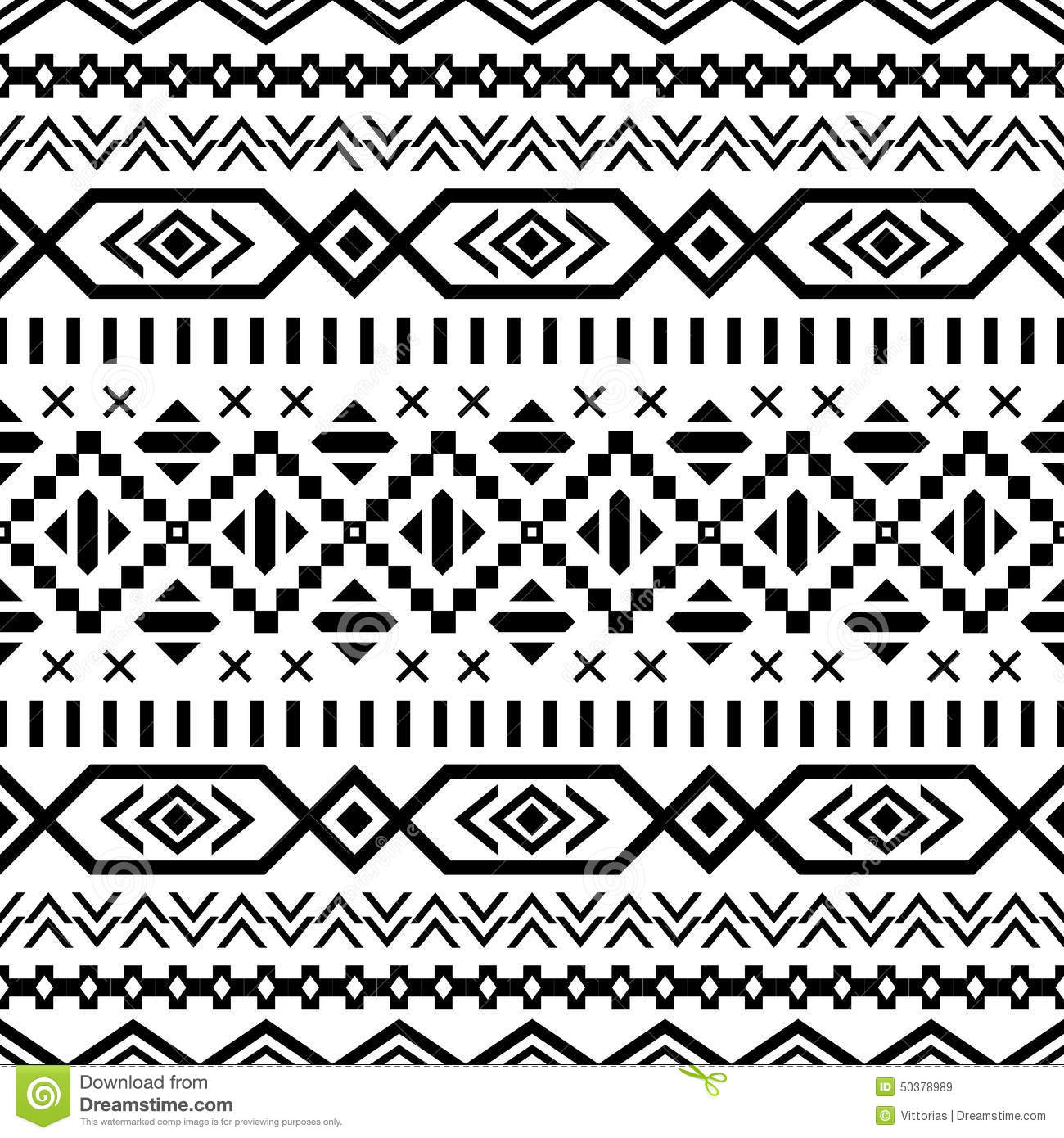 Ethnic Seamless Pattern Aztec Black White Background Tribal Navajo Print Modern Abstract Wallpaper Vector Illustration