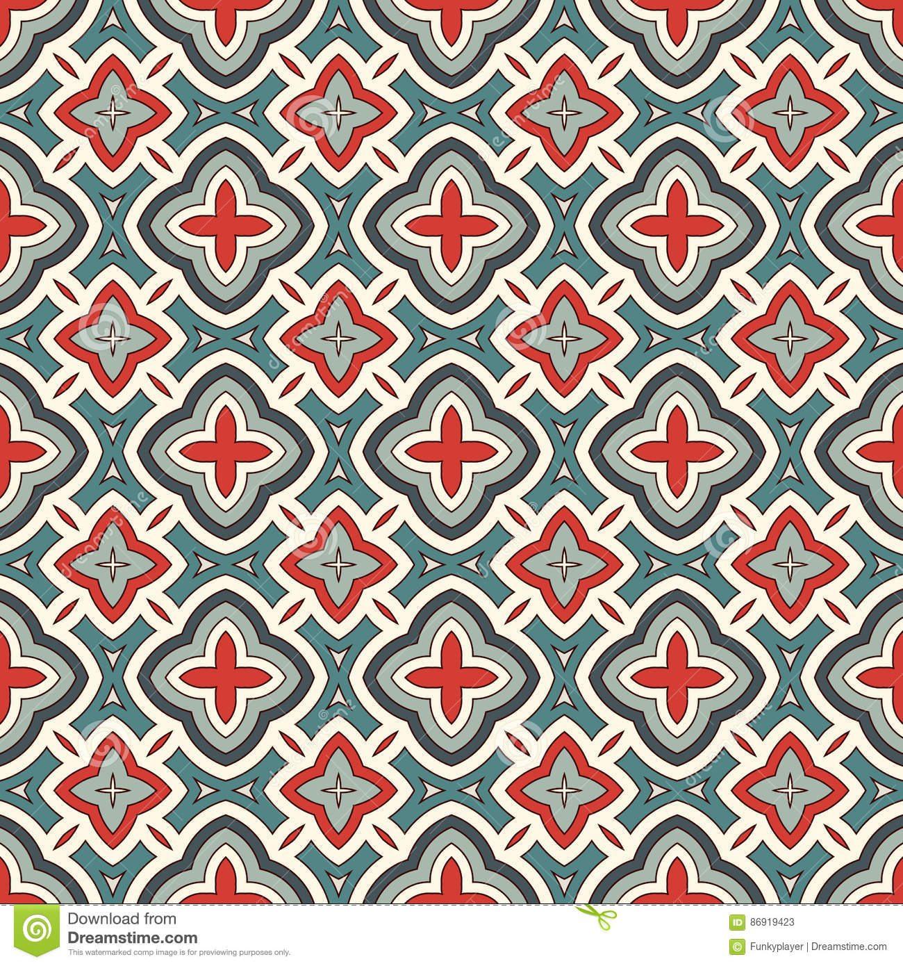 Ethnic Style Seamless Pattern With Floral Motif. Vintage