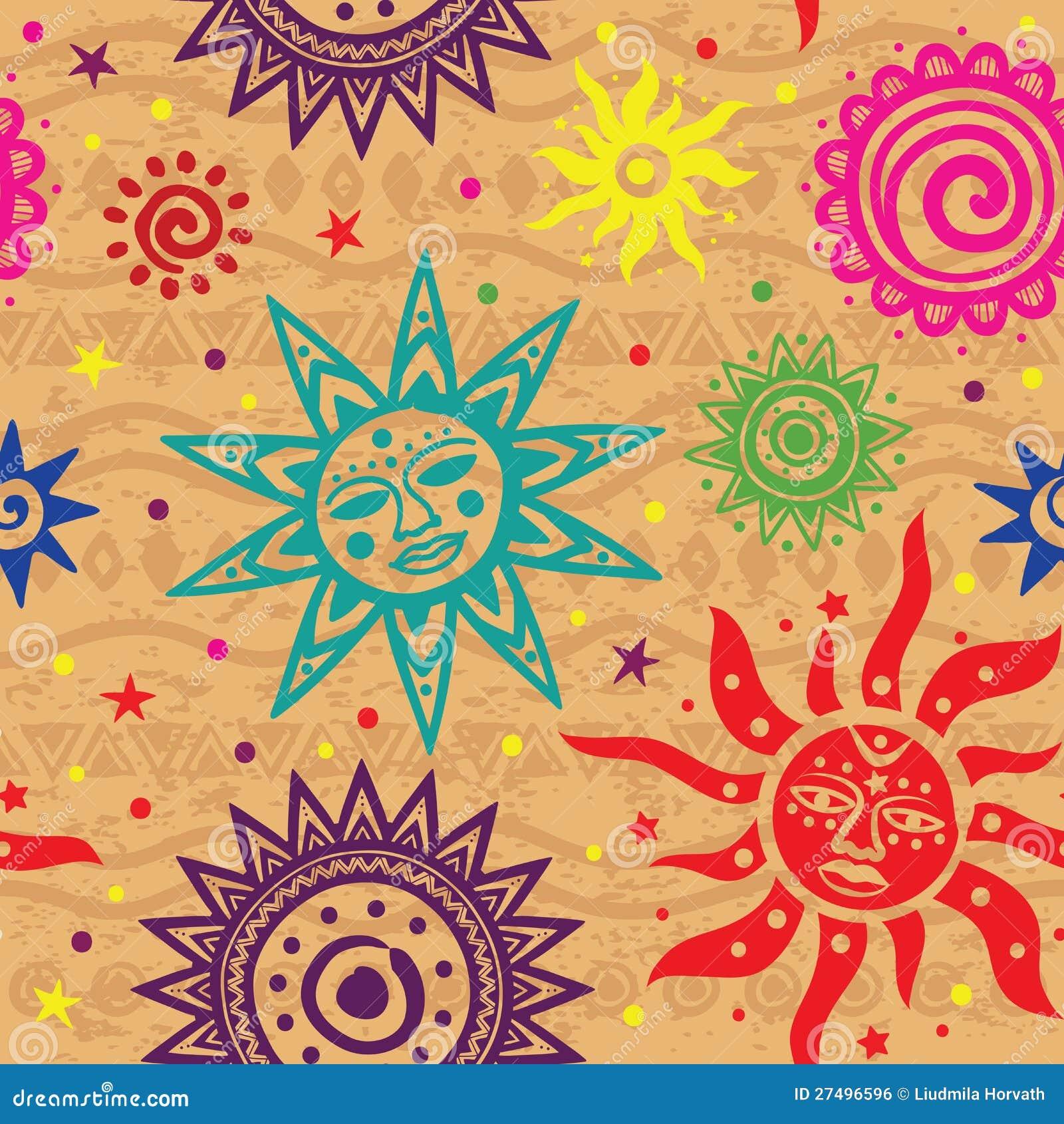 Ethnic Sun Pattern Royalty Free Stock Image Image 27496596