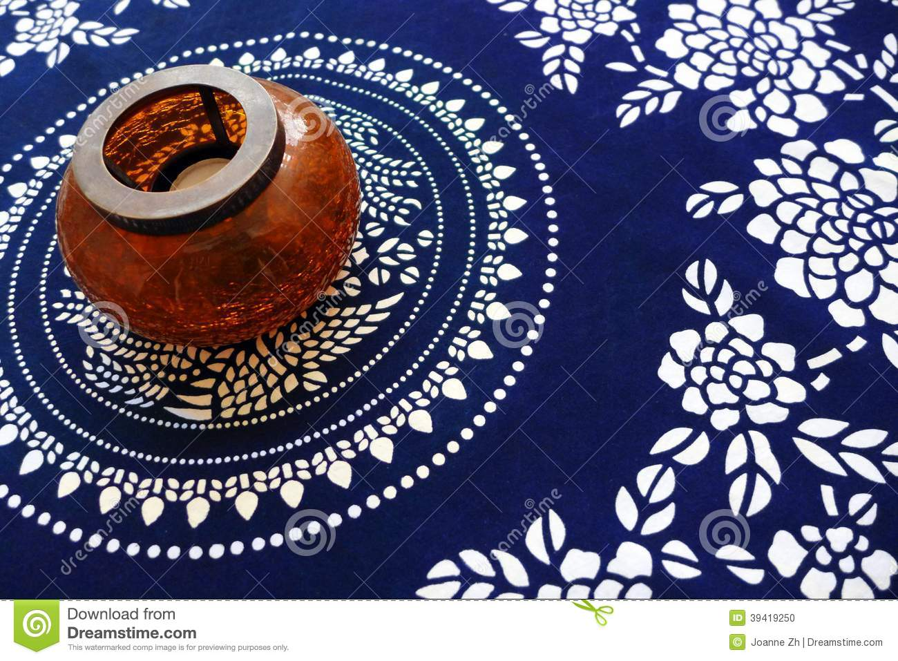 Ethnic Table Cloth With Antique Style Lamp Stock Photo ...