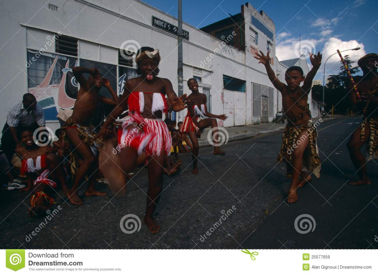 An ethnic tribe performing in Johannesburg.
