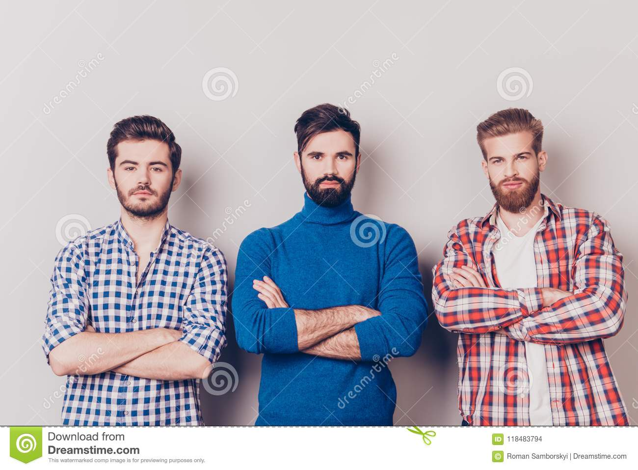 Ethnicity, multicultural diversity. Three serious harsh men are